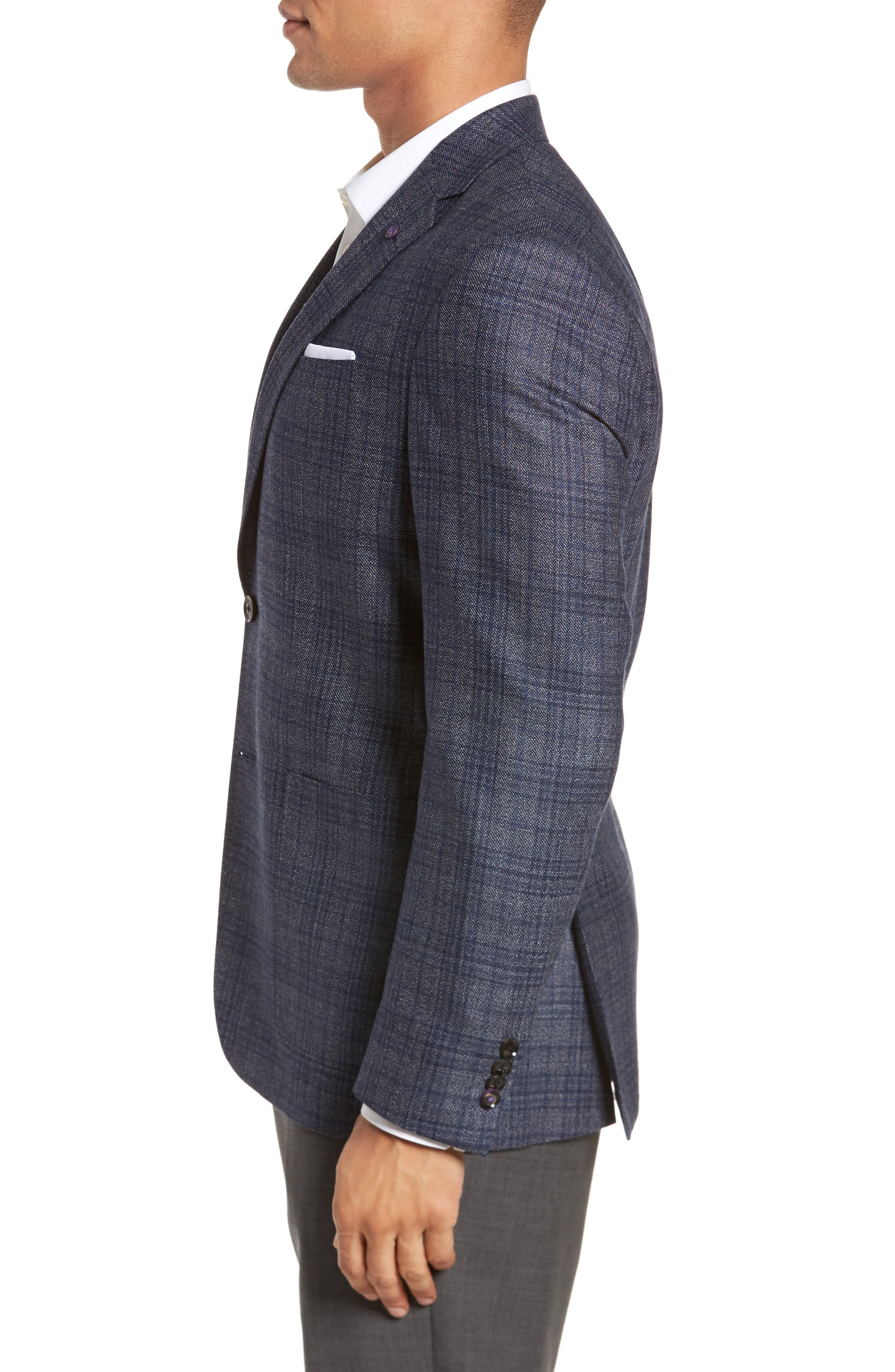 Kyle Trim Fit Plaid Silk & Wool Sport Coat,                             Alternate thumbnail 3, color,                             Grey