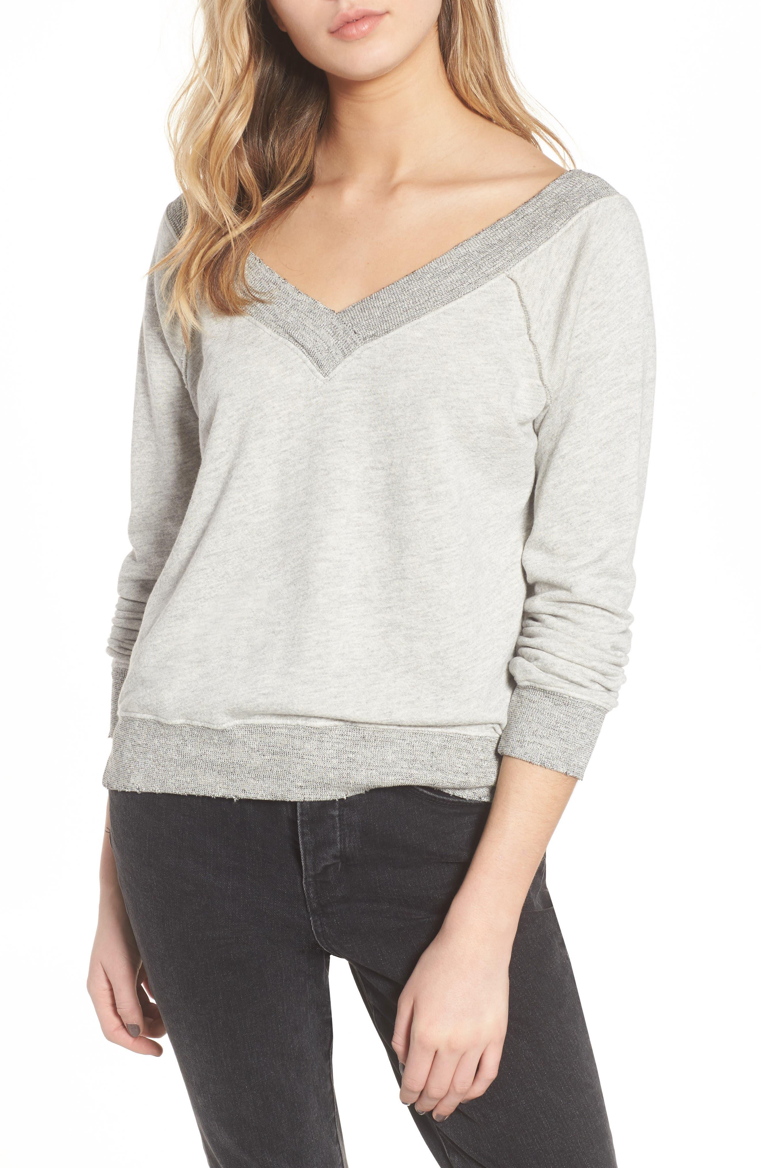 Mayer V-Neck Sweatshirt,                             Main thumbnail 1, color,                             Heather Grey