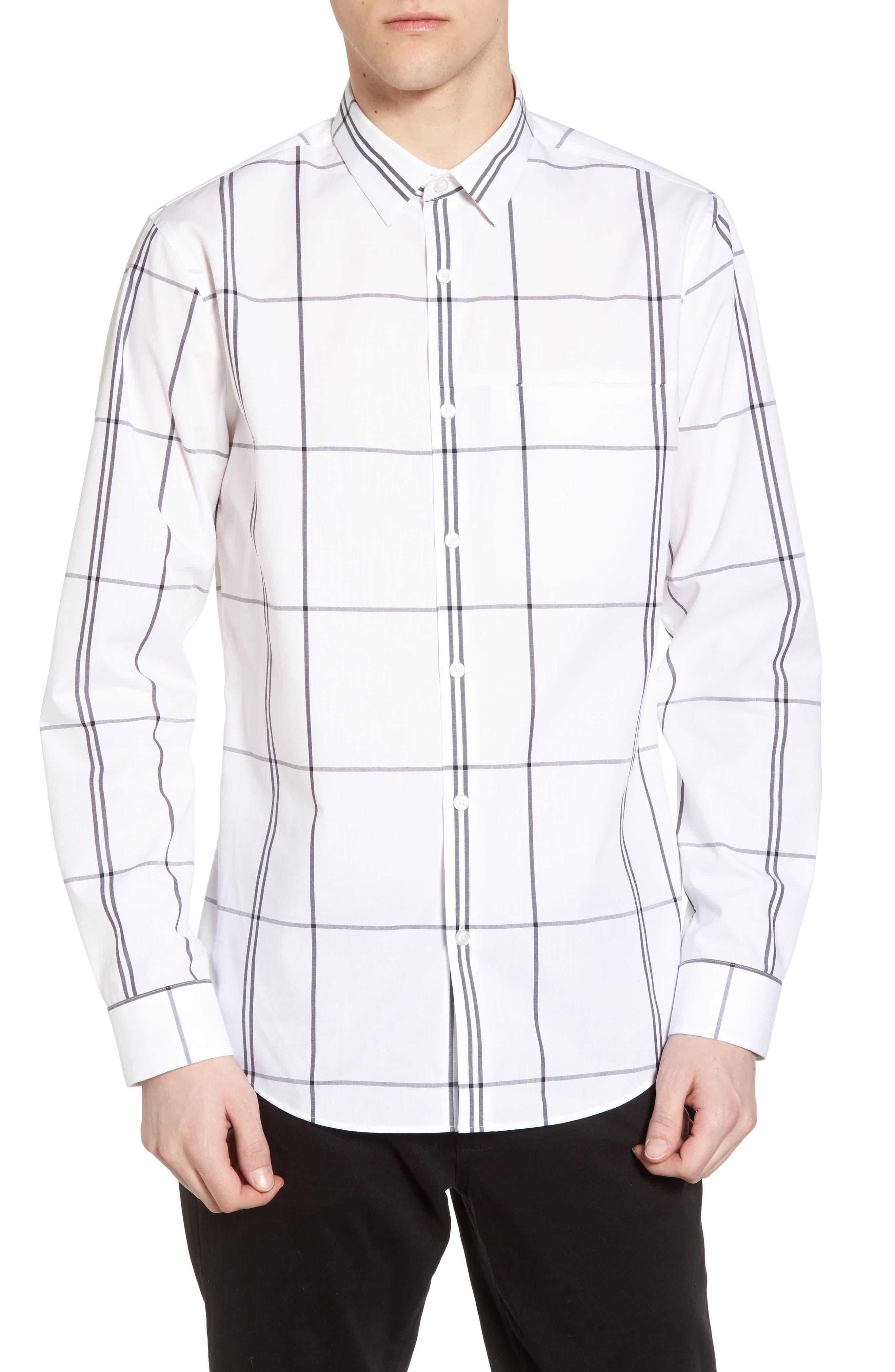 Windowpane Sport Shirt,                         Main,                         color, White Exploded Plaid