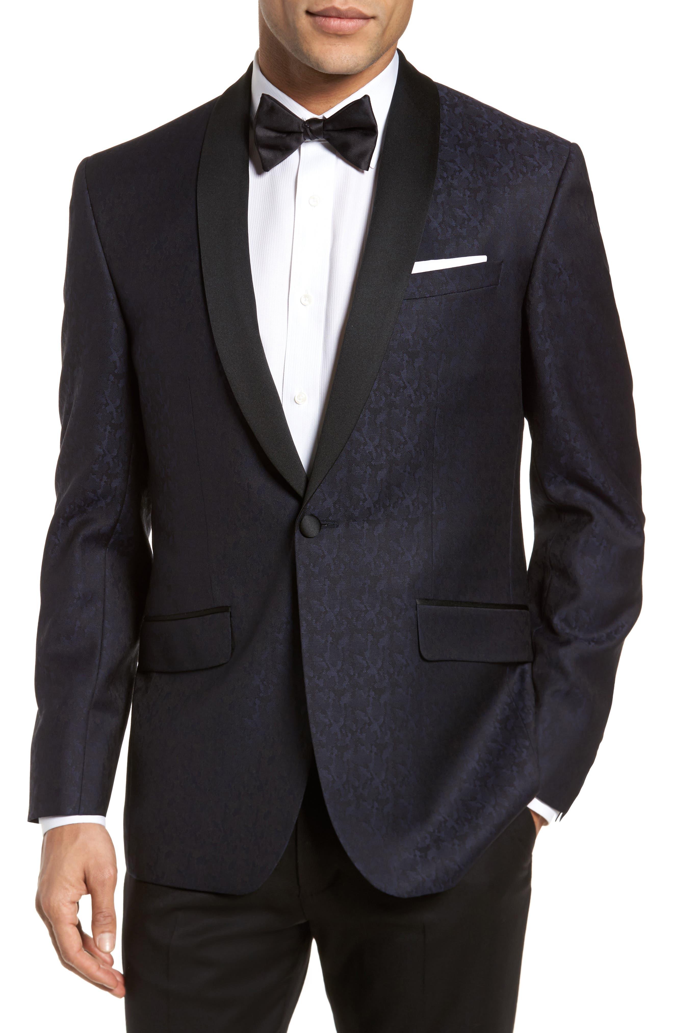 Josh Trim Fit Wool Dinner Jacket,                         Main,                         color, Navy