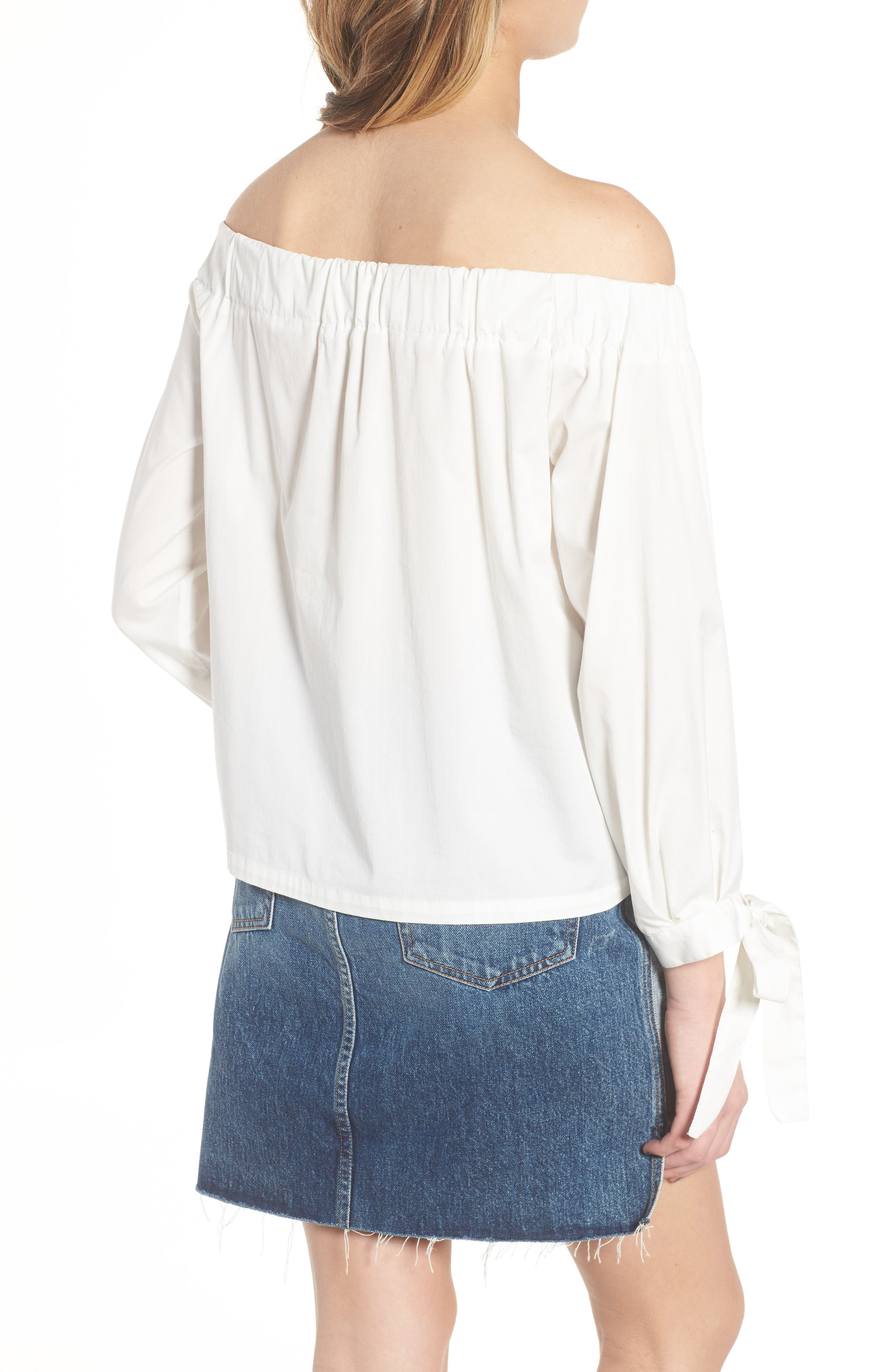 Off the Shoulder Top,                             Alternate thumbnail 2, color,                             White