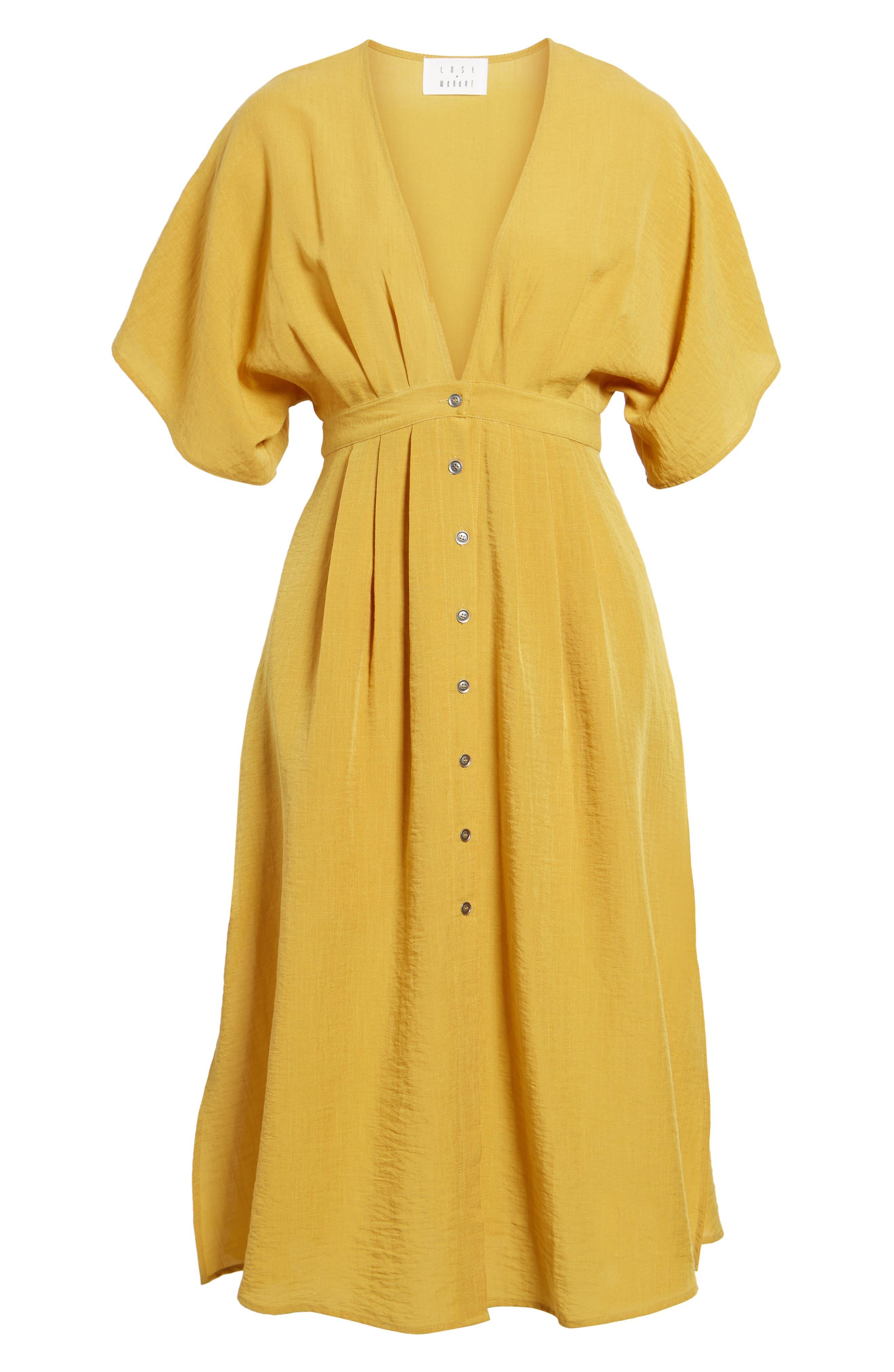 Poppy Button Front Midi Dress,                             Alternate thumbnail 7, color,                             Mustard