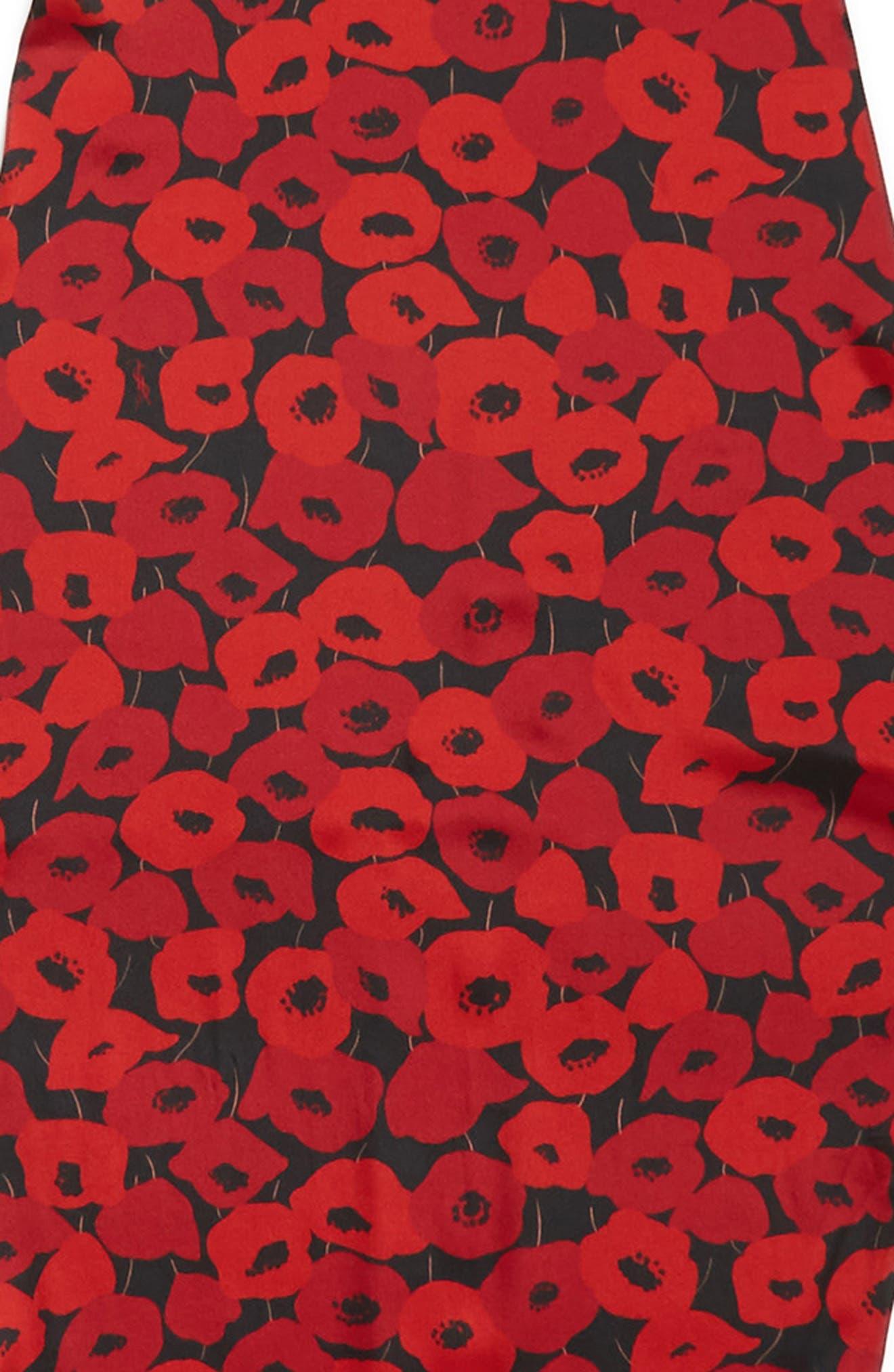 Poppy Diamond Silk Scarf,                             Alternate thumbnail 4, color,                             Black/ Red