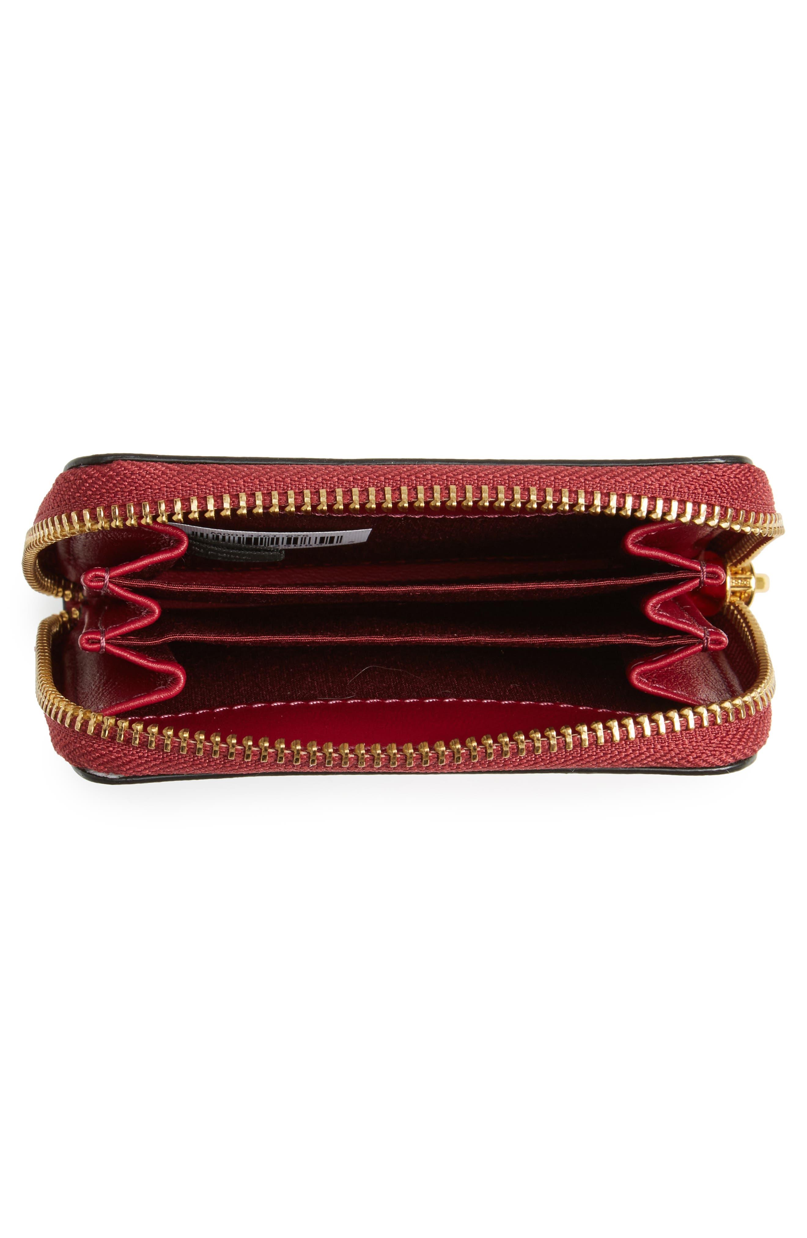 Lips Saffiano Leather Zip Around Wallet,                             Alternate thumbnail 2, color,                             Tea Rose Multi