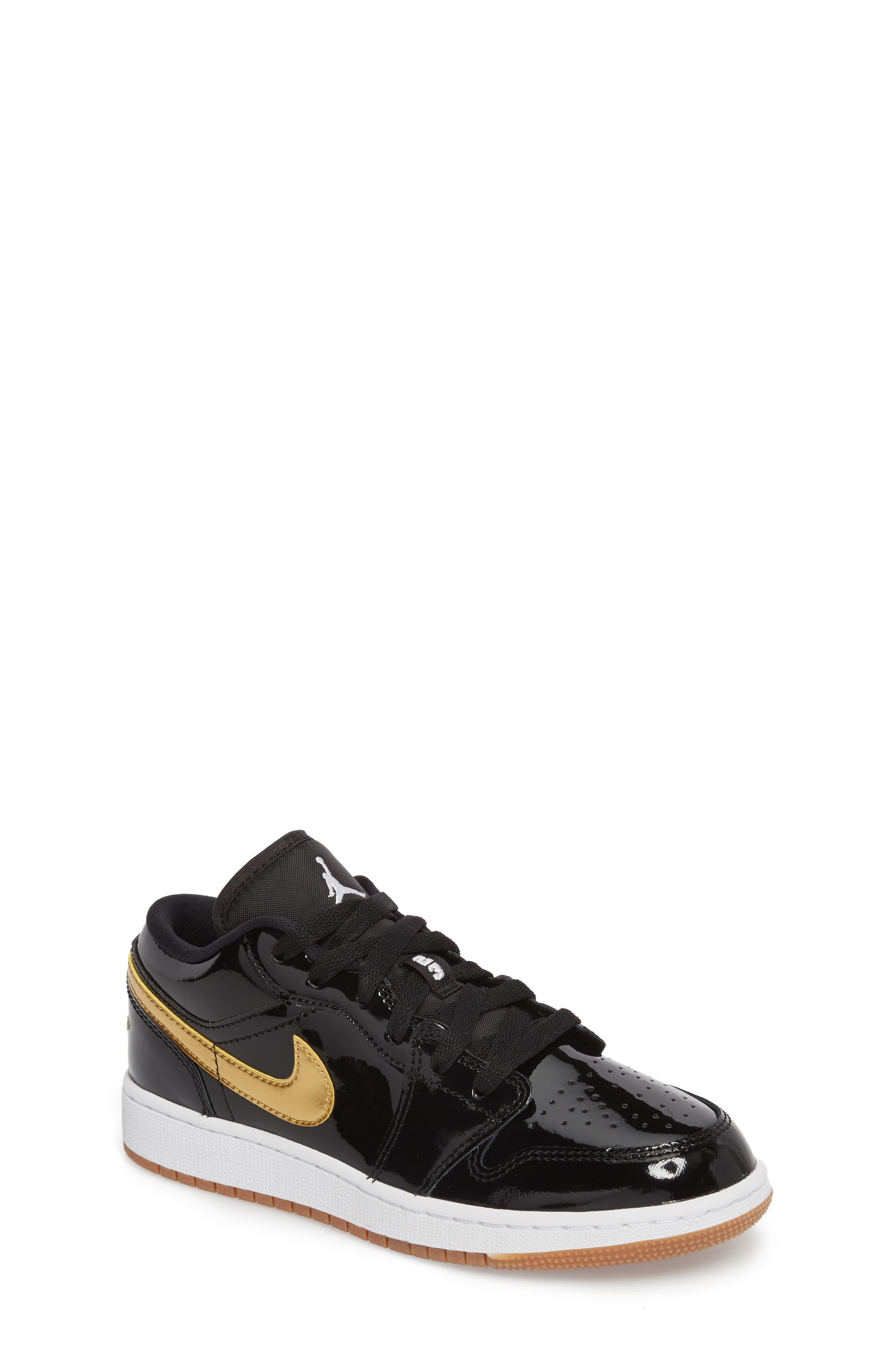 Nike 'Jordan 1 Low' Basketball Shoe,                             Main thumbnail 1, color,                             Black/ Metallic Gold/ White