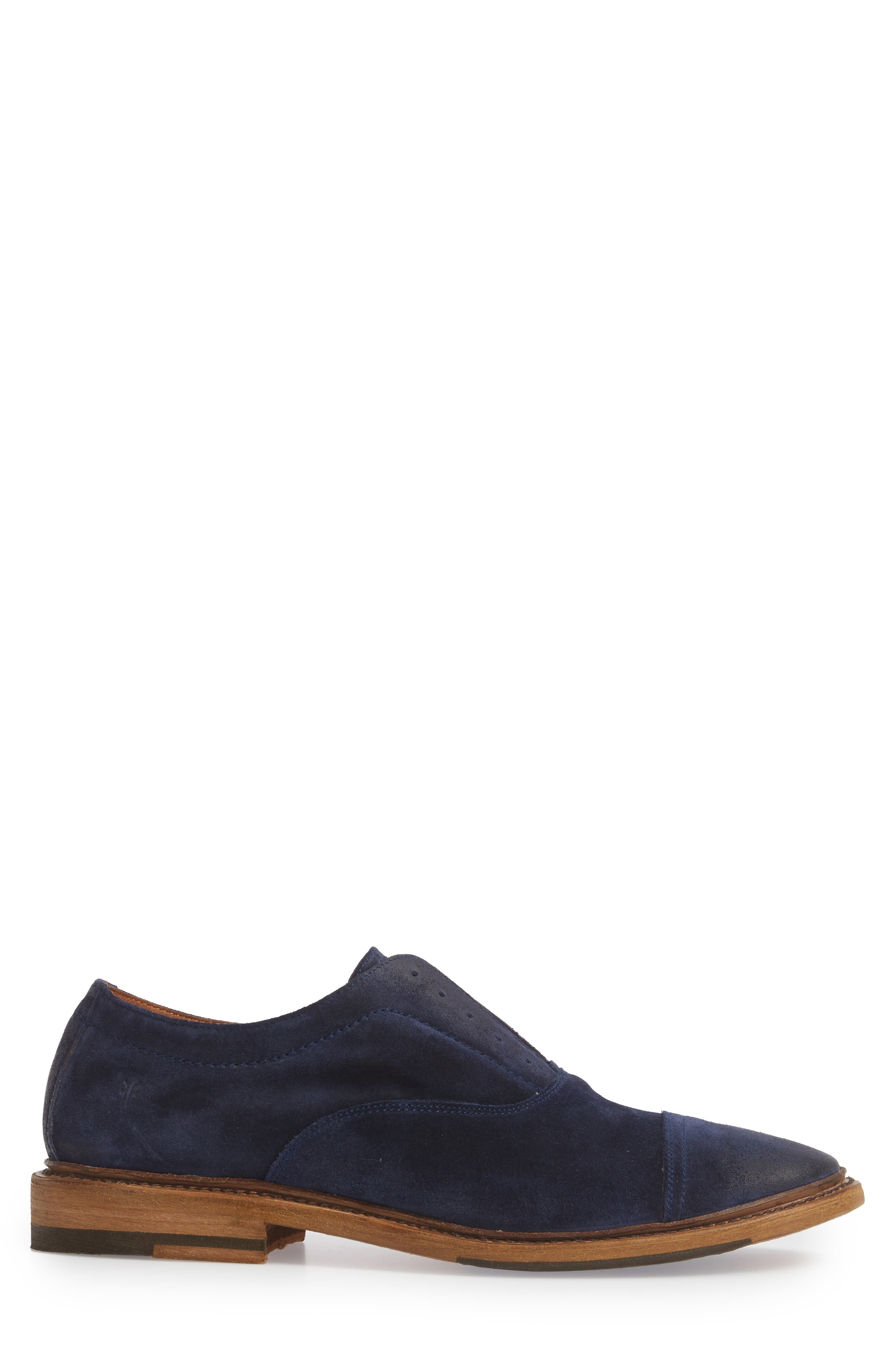 Paul Bal Cap Toe Oxford,                             Alternate thumbnail 3, color,                             Navy Suede