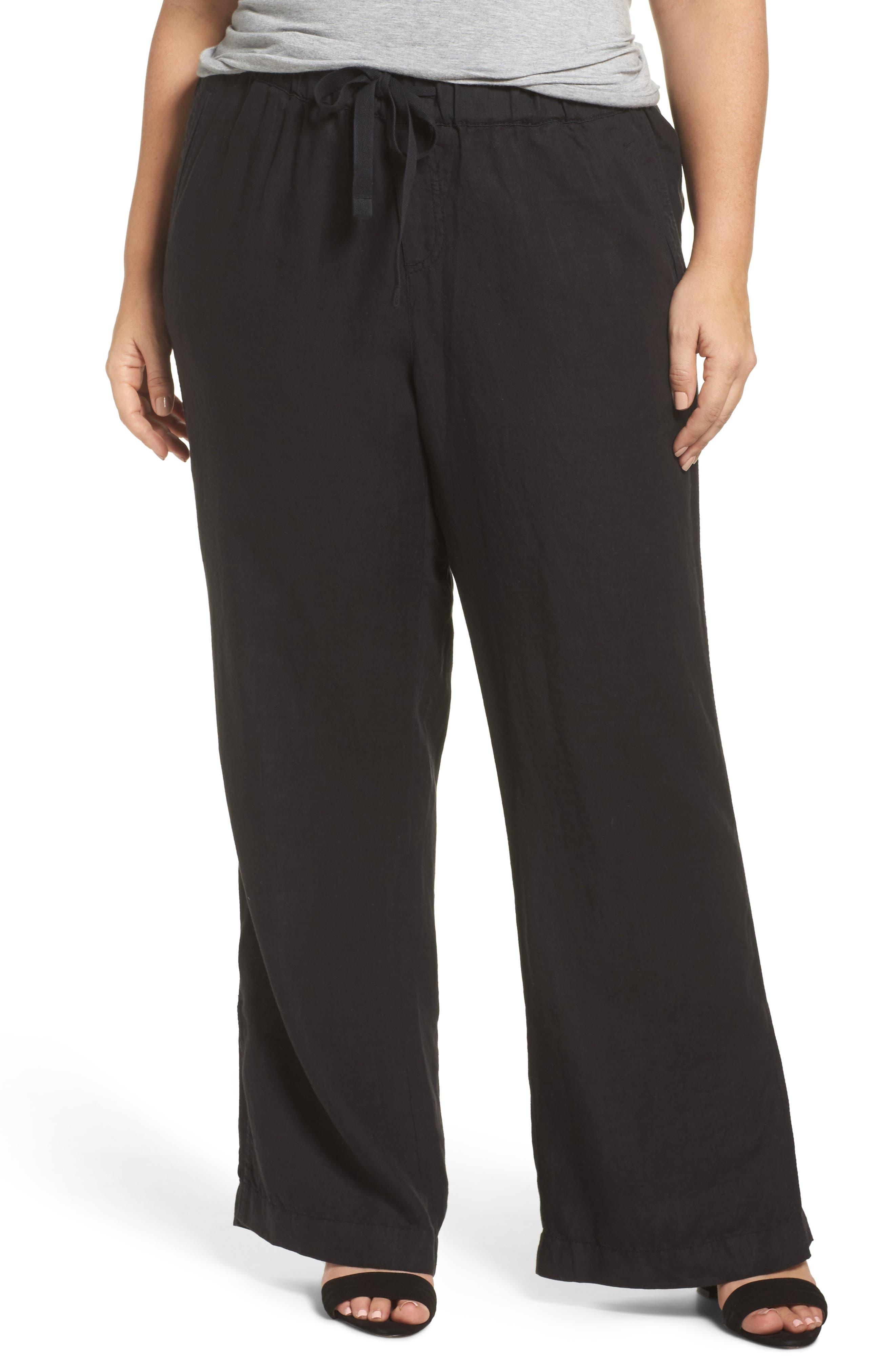 Caslon® Linen Track Pants (Plus Size)