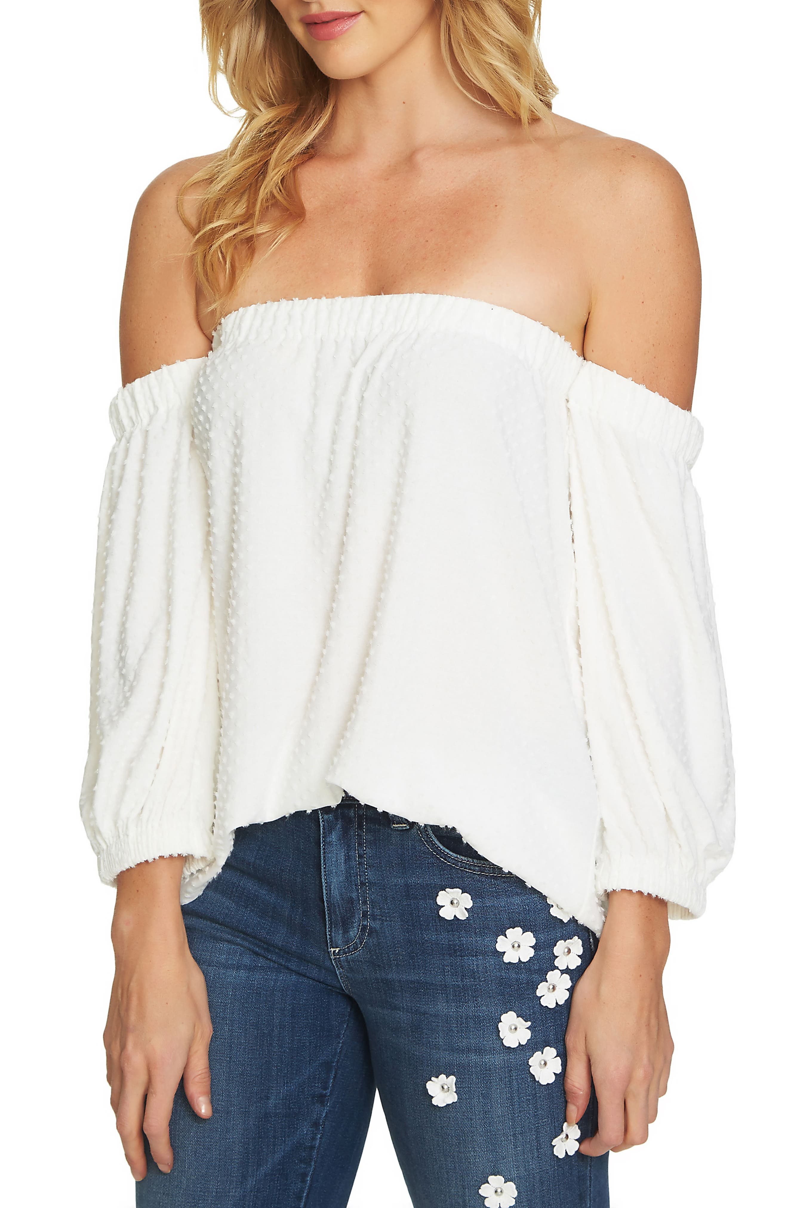 Off the Shoulder Clipped Knit Top,                             Main thumbnail 1, color,                             New Ivory