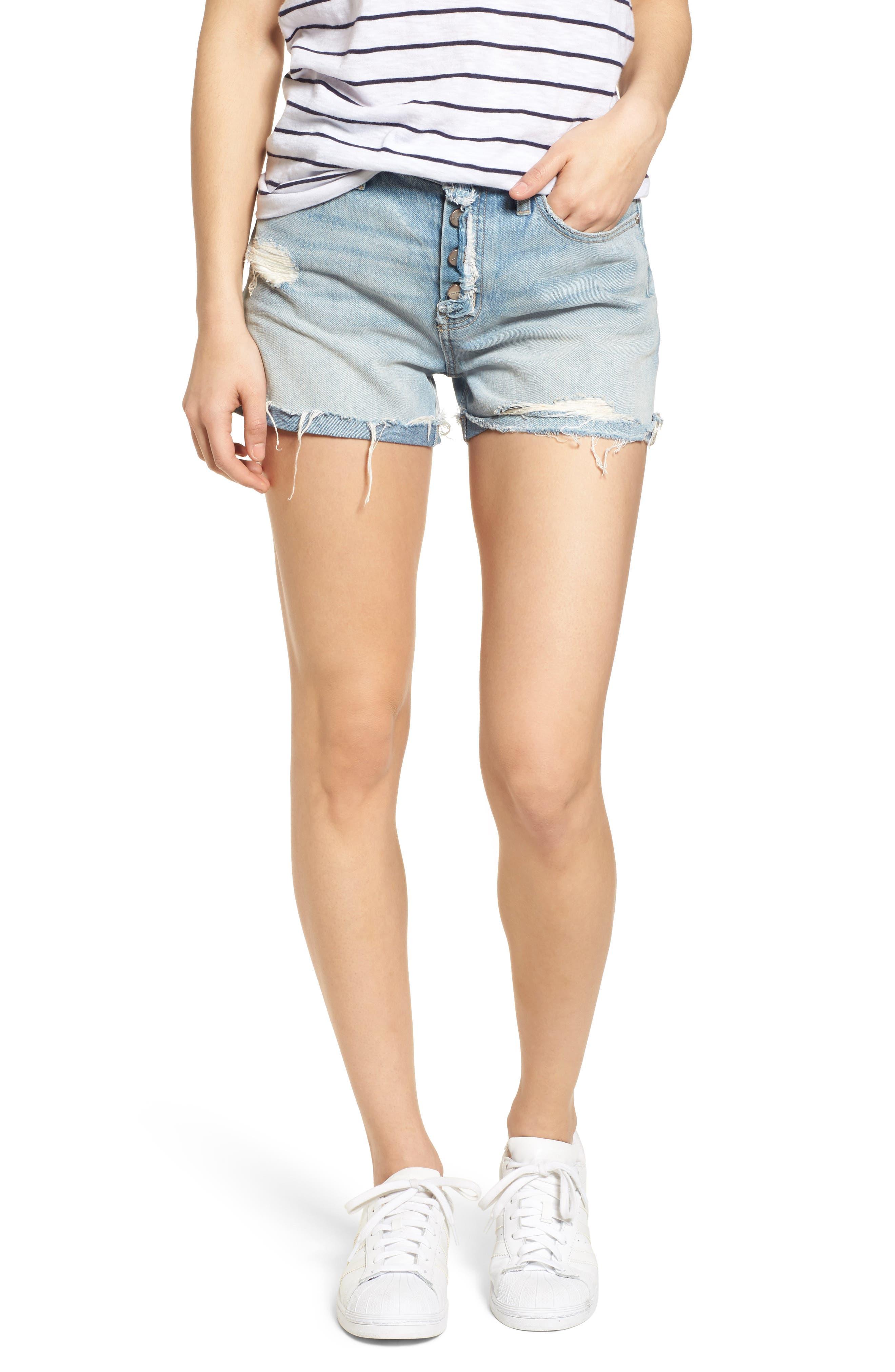 Distressed Fray Hem Rolled Shorts,                             Main thumbnail 1, color,                             Olivia Wash