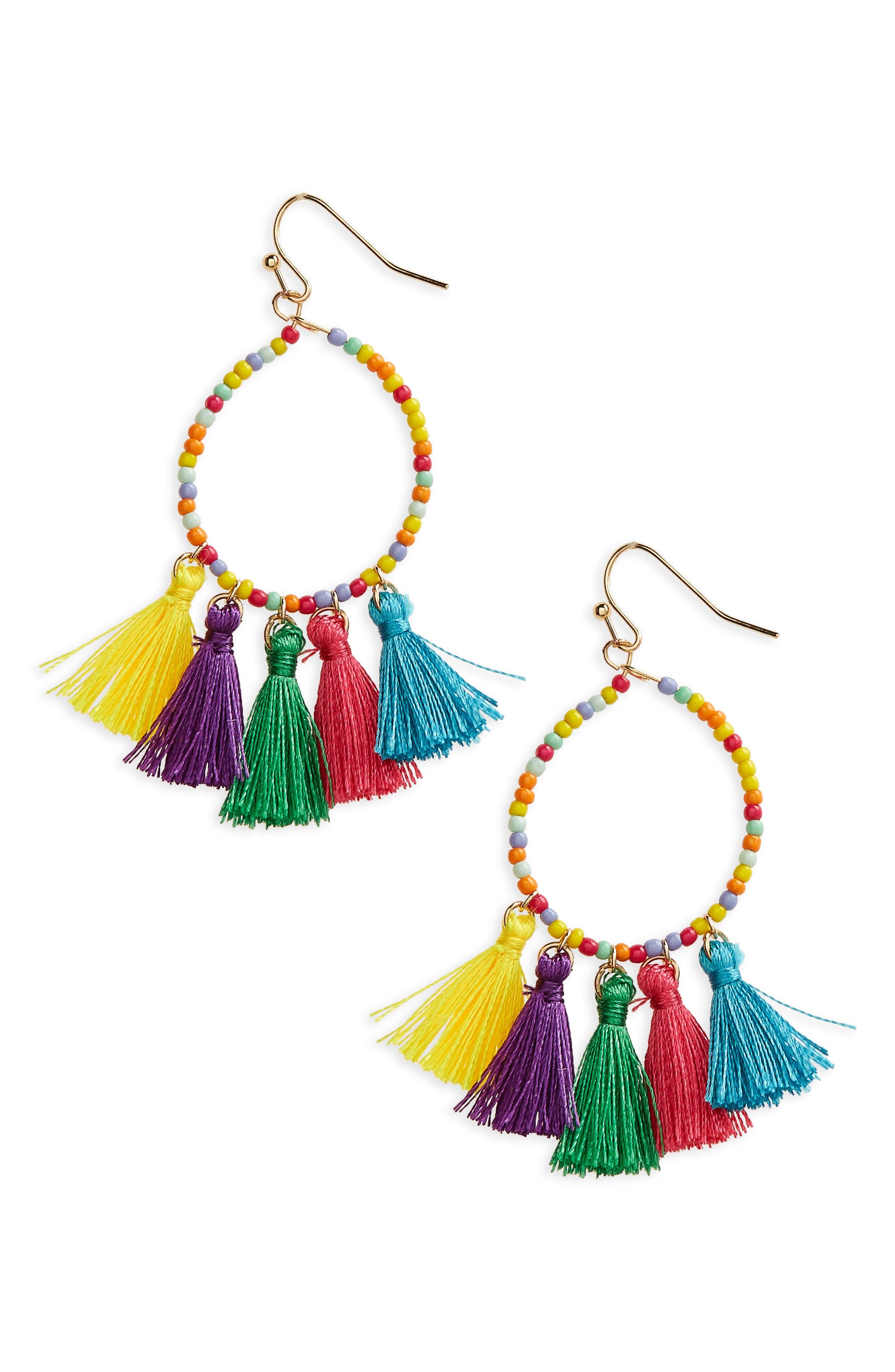 Beaded Hoop Earrings,                             Main thumbnail 1, color,                             Yellow Multi
