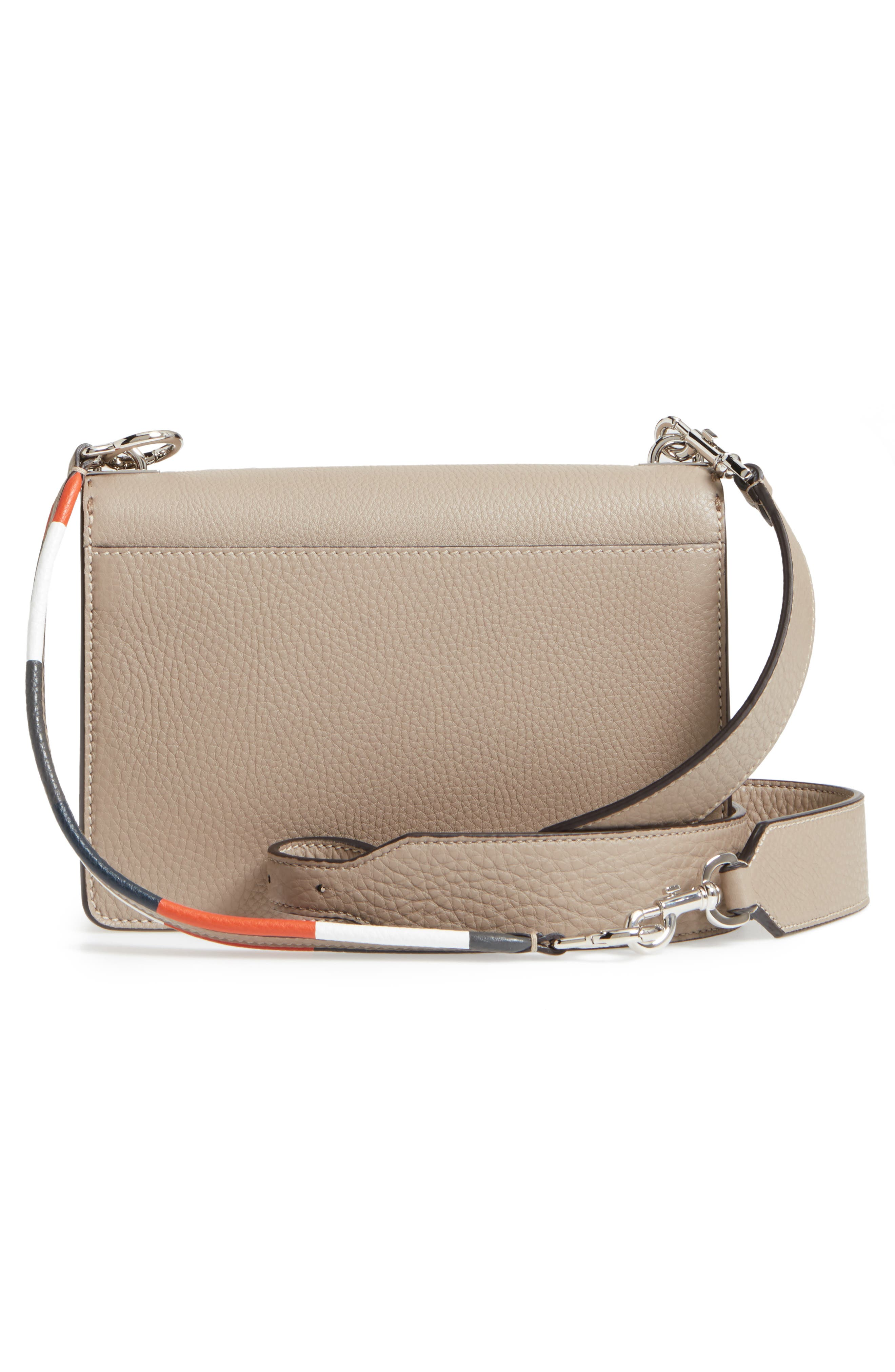 Pebbled Leather Messenger Bag,                             Alternate thumbnail 3, color,                             Beige