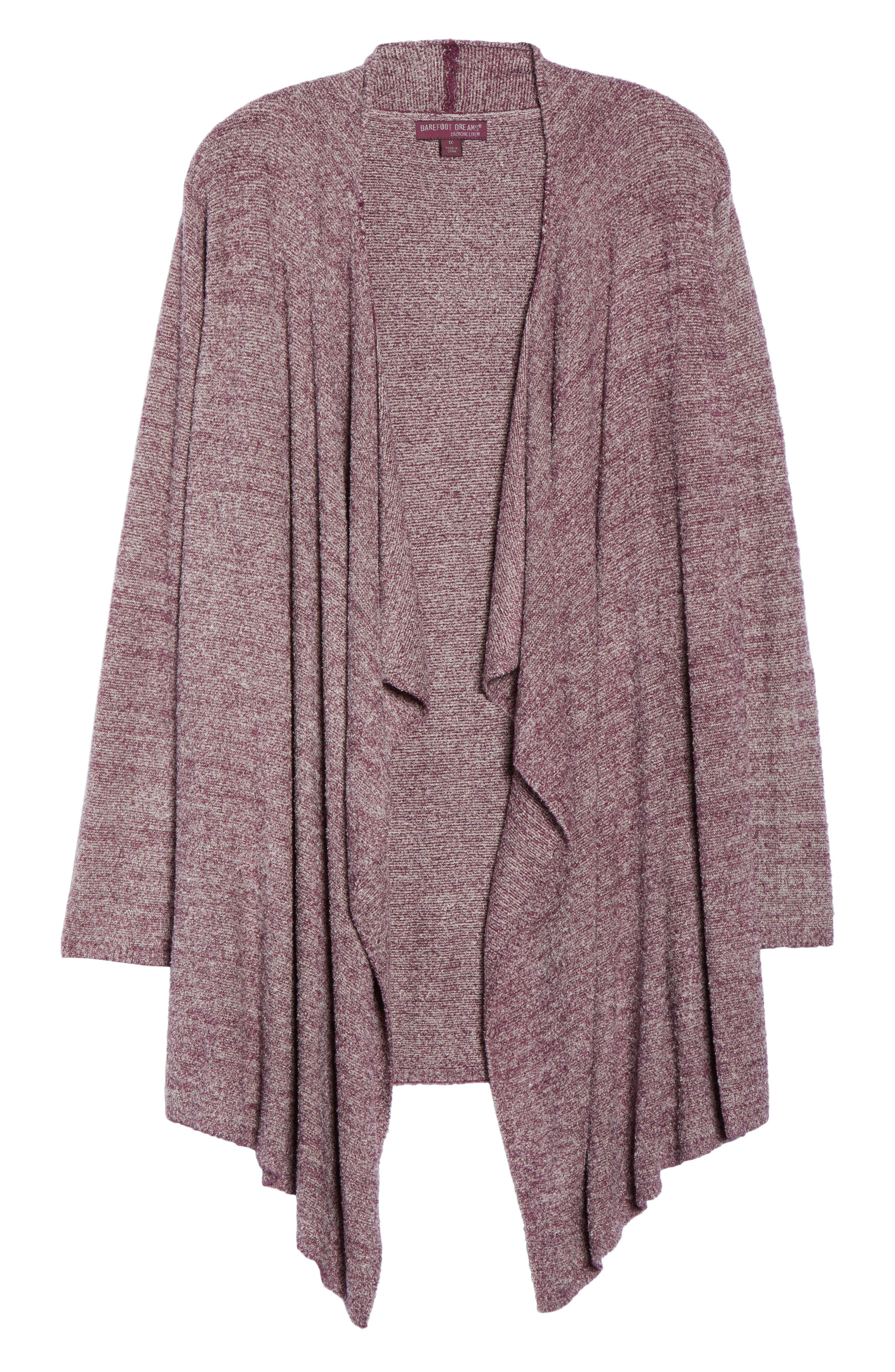 CozyChic Lite<sup>®</sup> Calypso Wrap Cardigan,                             Alternate thumbnail 4, color,                             Burgundy/ Stone