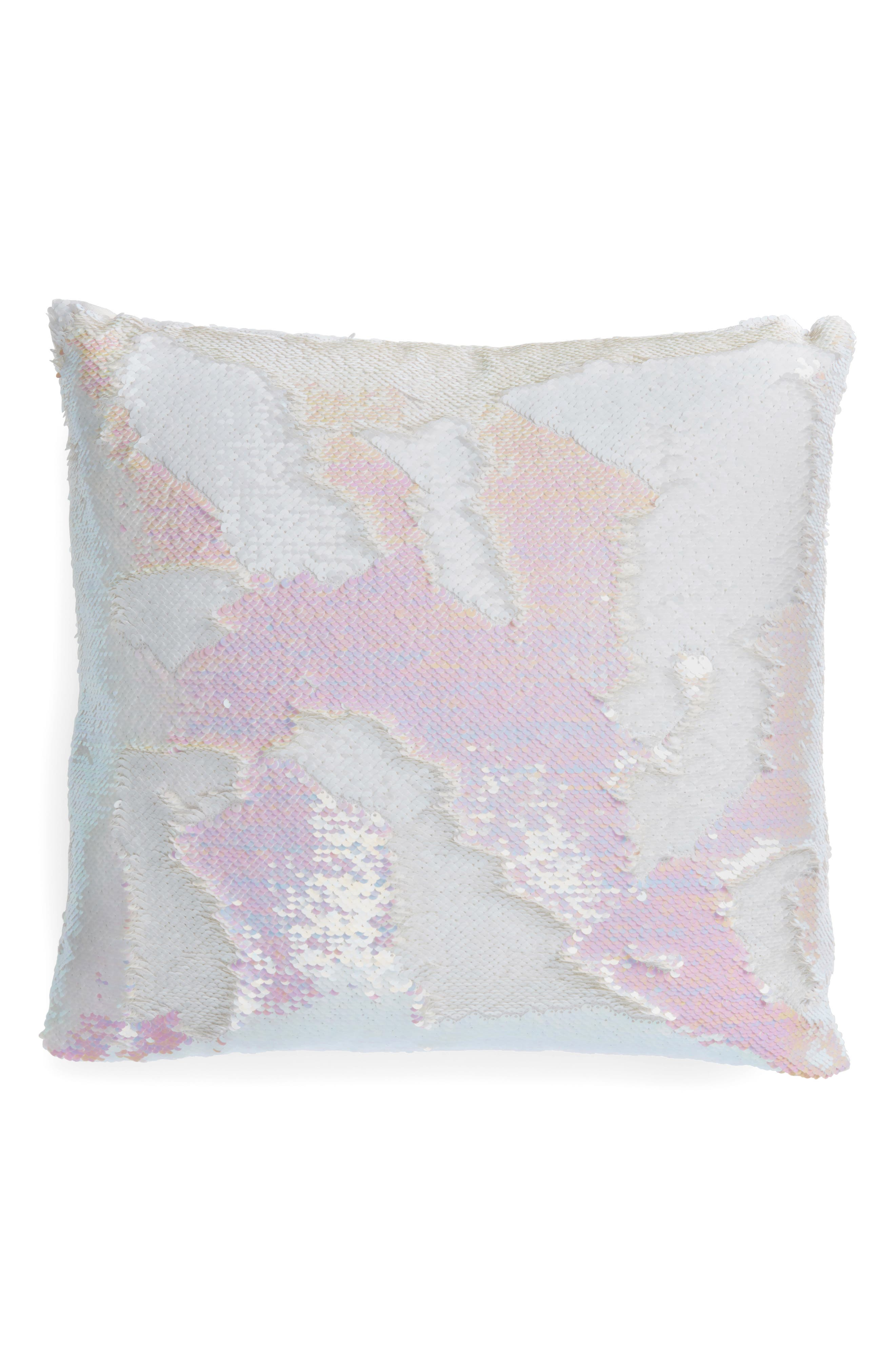 Iridescent Sequin Accent Pillow,                             Main thumbnail 1, color,                             Ivory