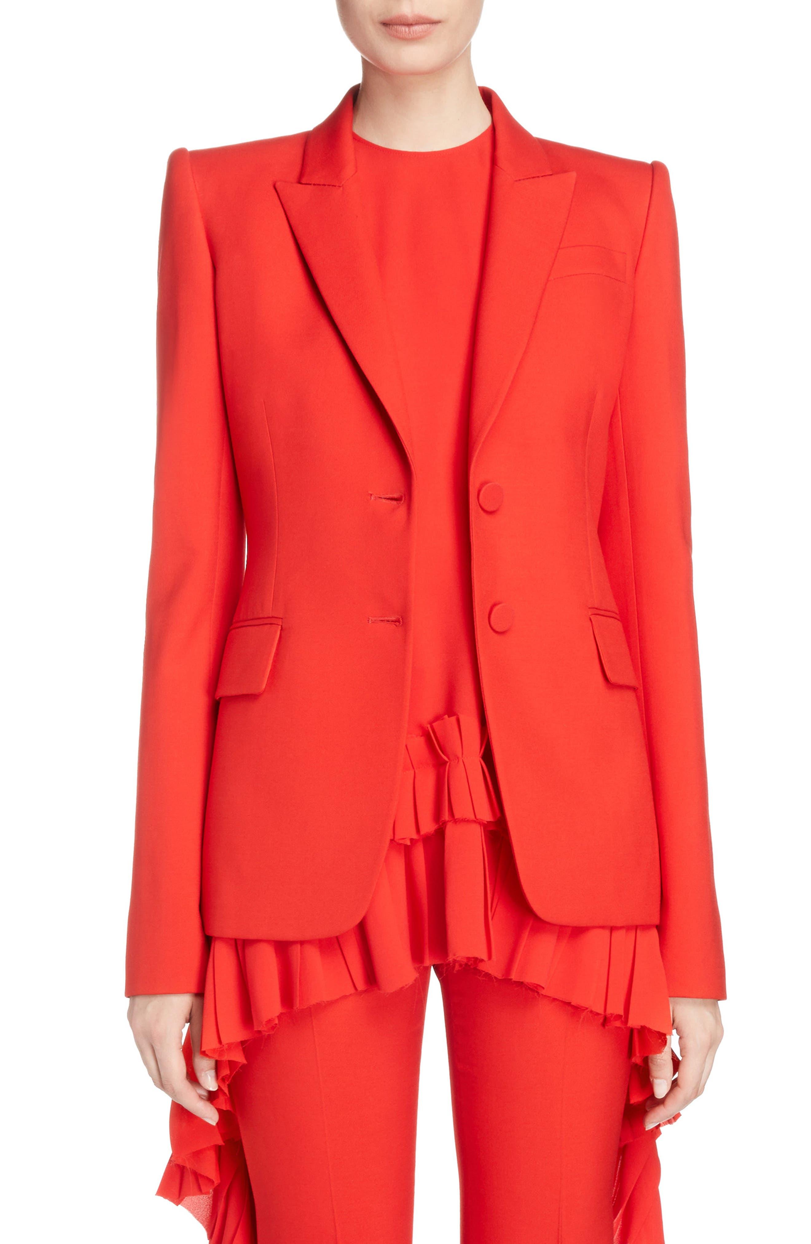 Wool & Silk Blend Blazer,                             Main thumbnail 1, color,                             Lust Red