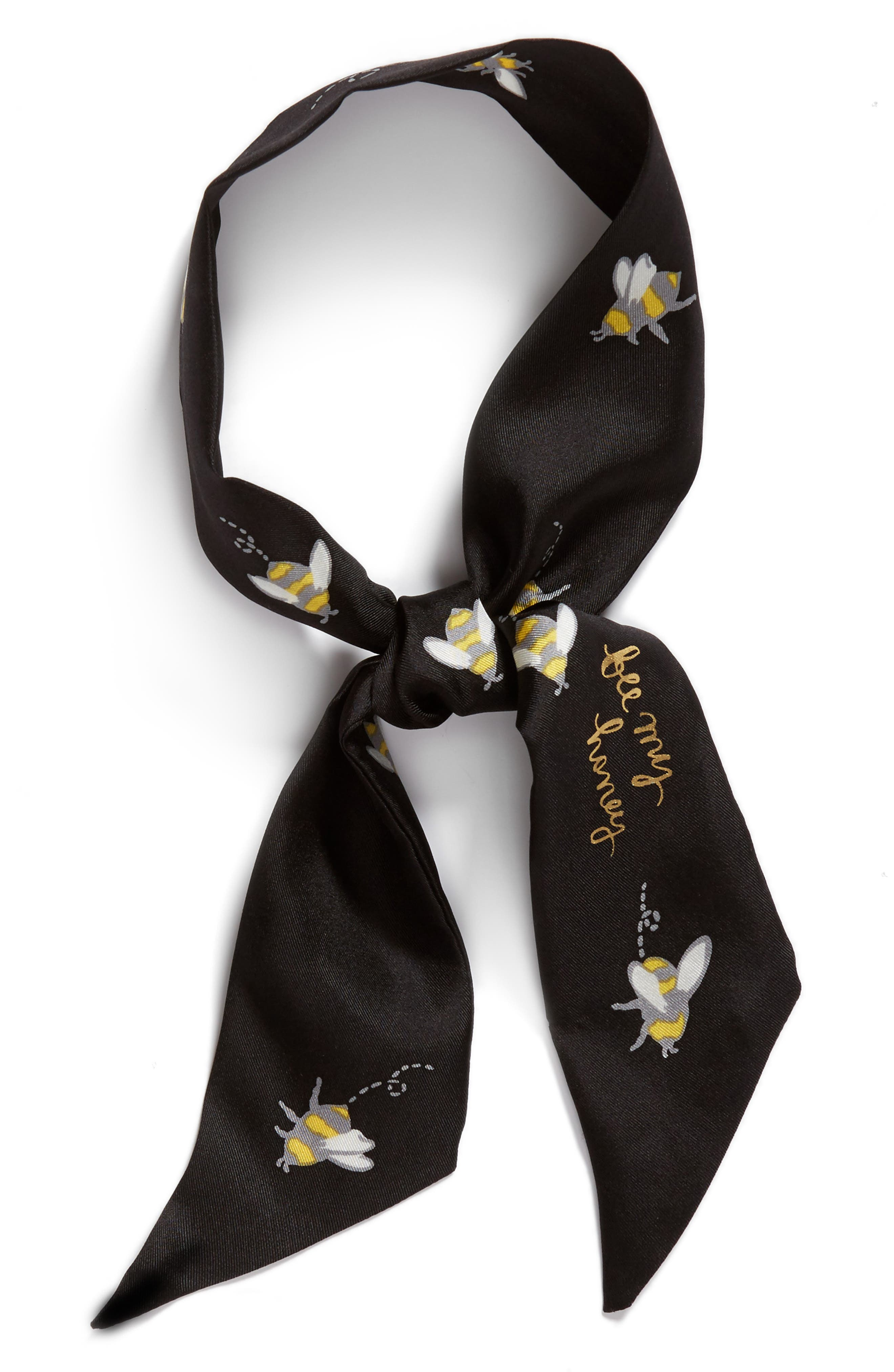 abuzz skinny silk scarf,                             Alternate thumbnail 2, color,                             Black