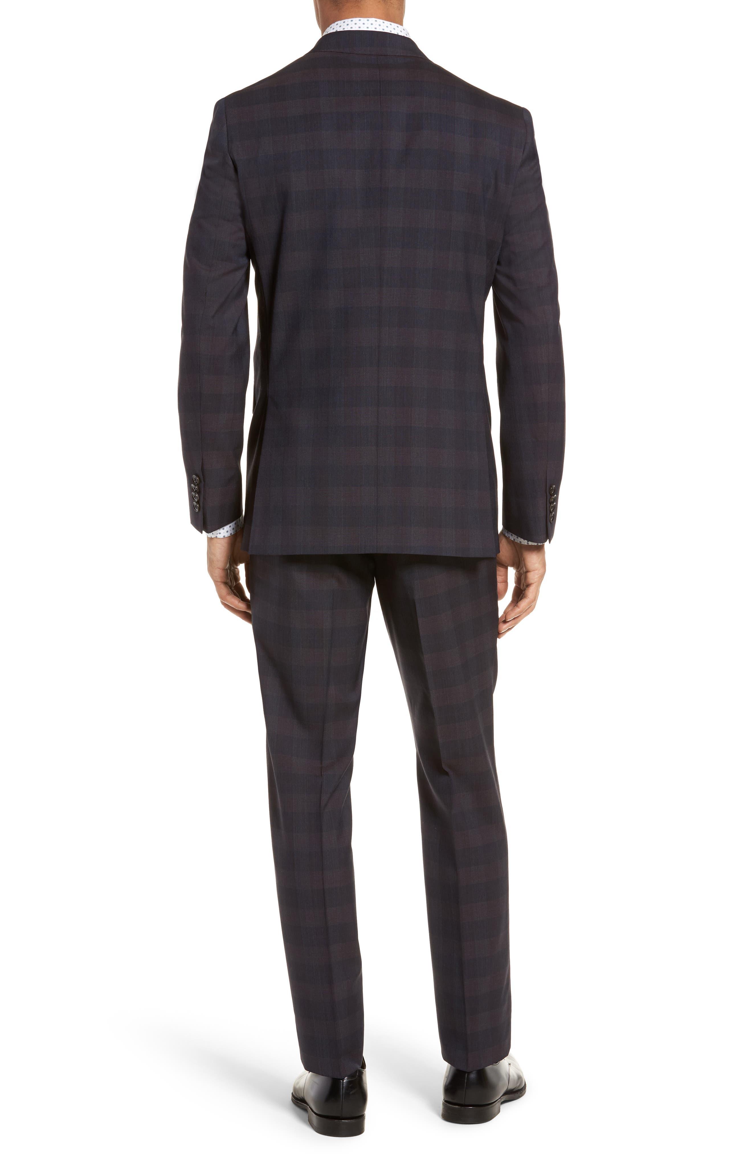 Jay Trim Fit Plaid Wool Suit,                             Alternate thumbnail 2, color,                             Black