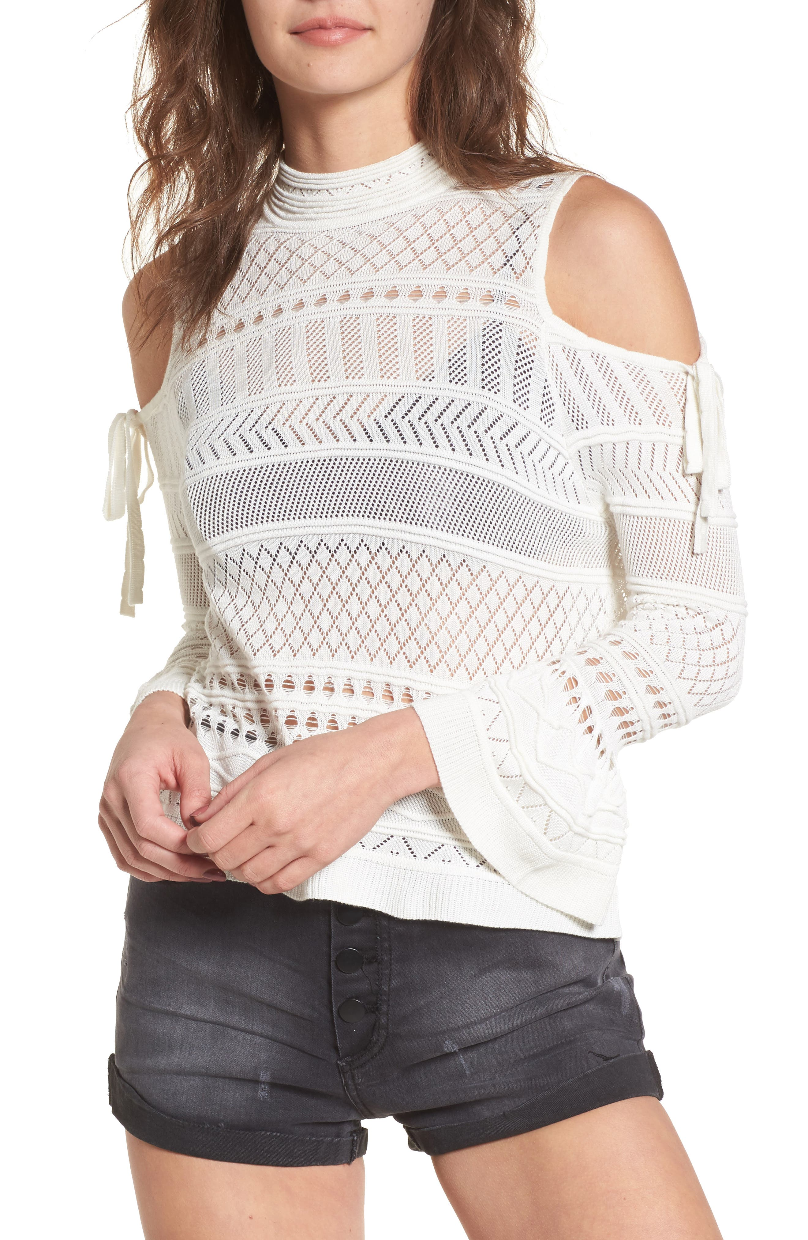 Annabel Cold Shoulder Pointelle Sweater,                             Main thumbnail 1, color,                             Ivory