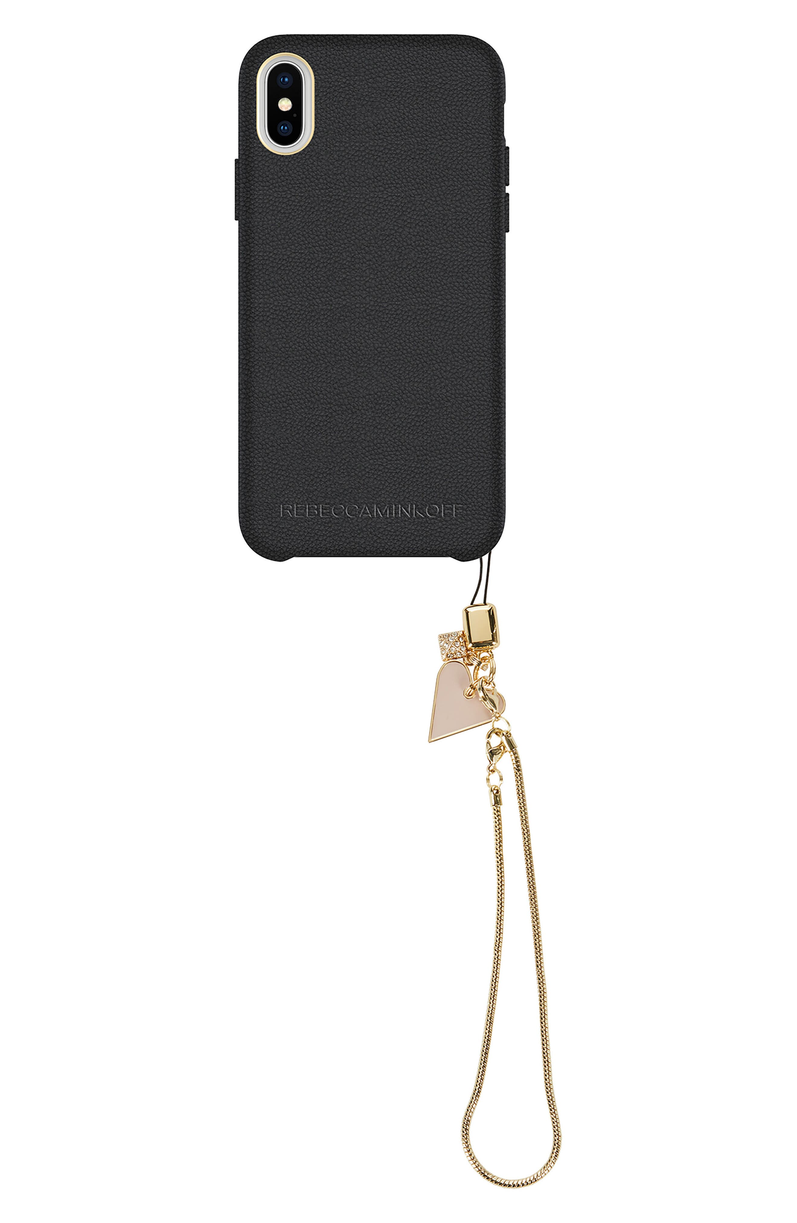Leather iPhone X Wristlet Case with Charms,                             Main thumbnail 1, color,                             Black