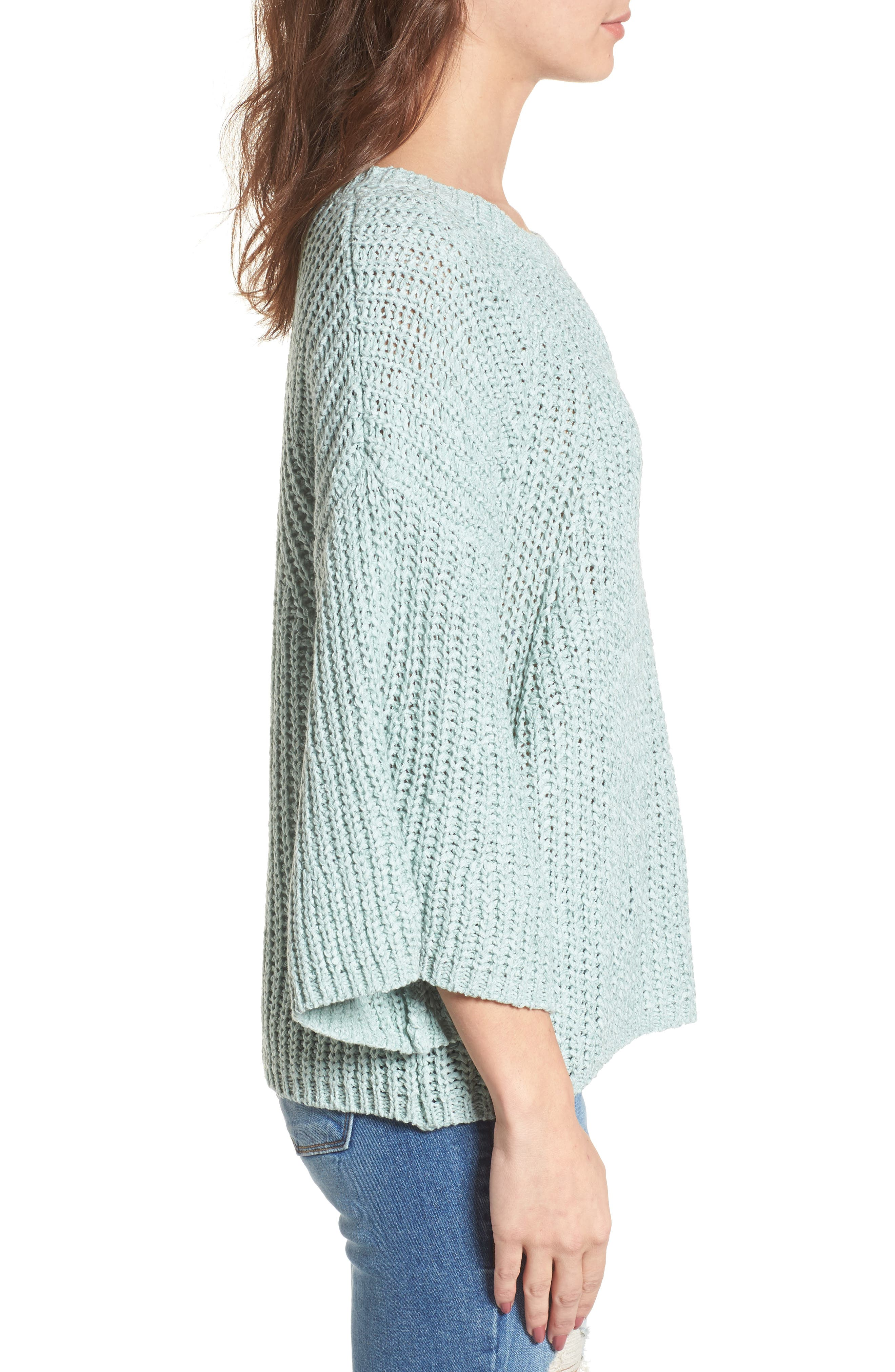 Bell Sleeve Sweater,                             Alternate thumbnail 4, color,                             Teal Surf