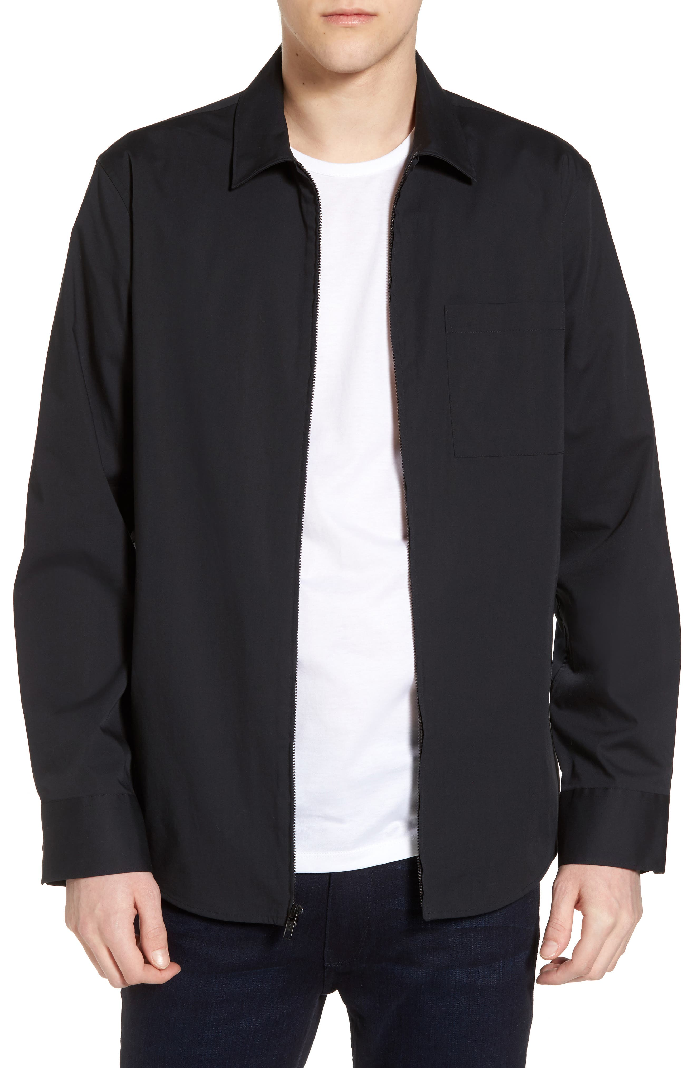 Zip Shirt Jacket,                             Main thumbnail 1, color,                             Black