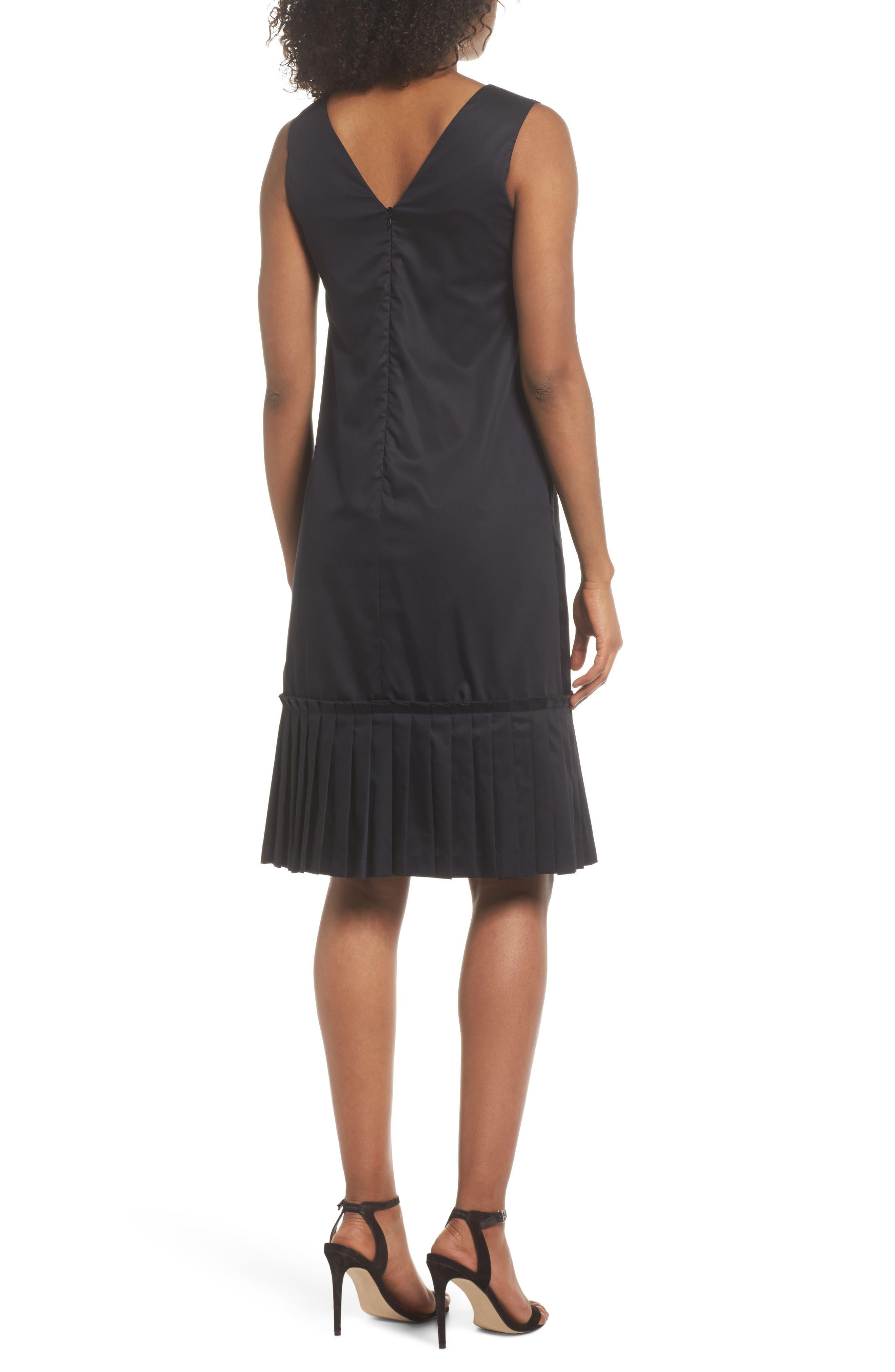Pleat Hem Shift Dress,                             Alternate thumbnail 2, color,                             Black