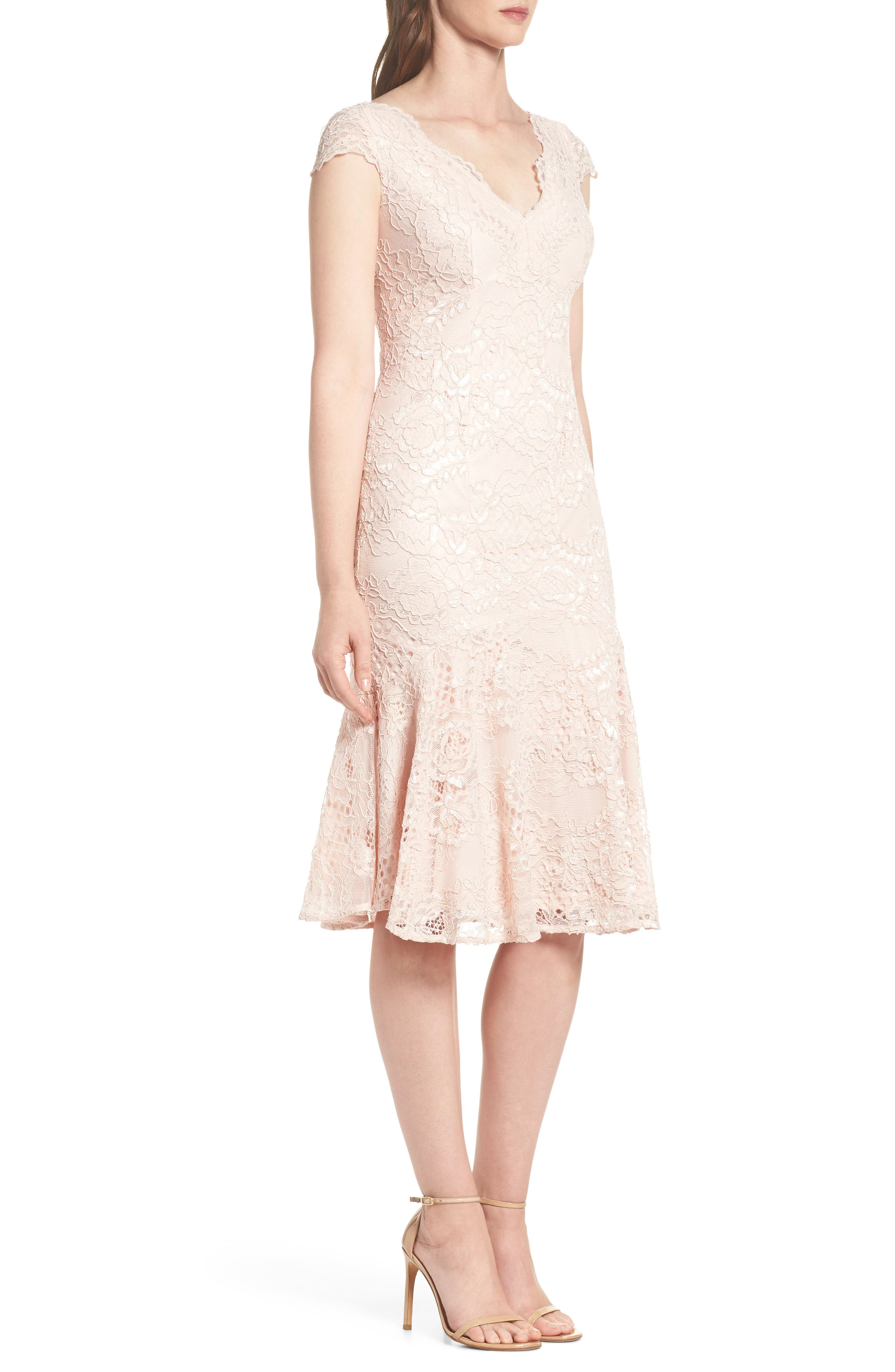 Flounce Hem Lace Dress,                             Alternate thumbnail 3, color,                             Blush