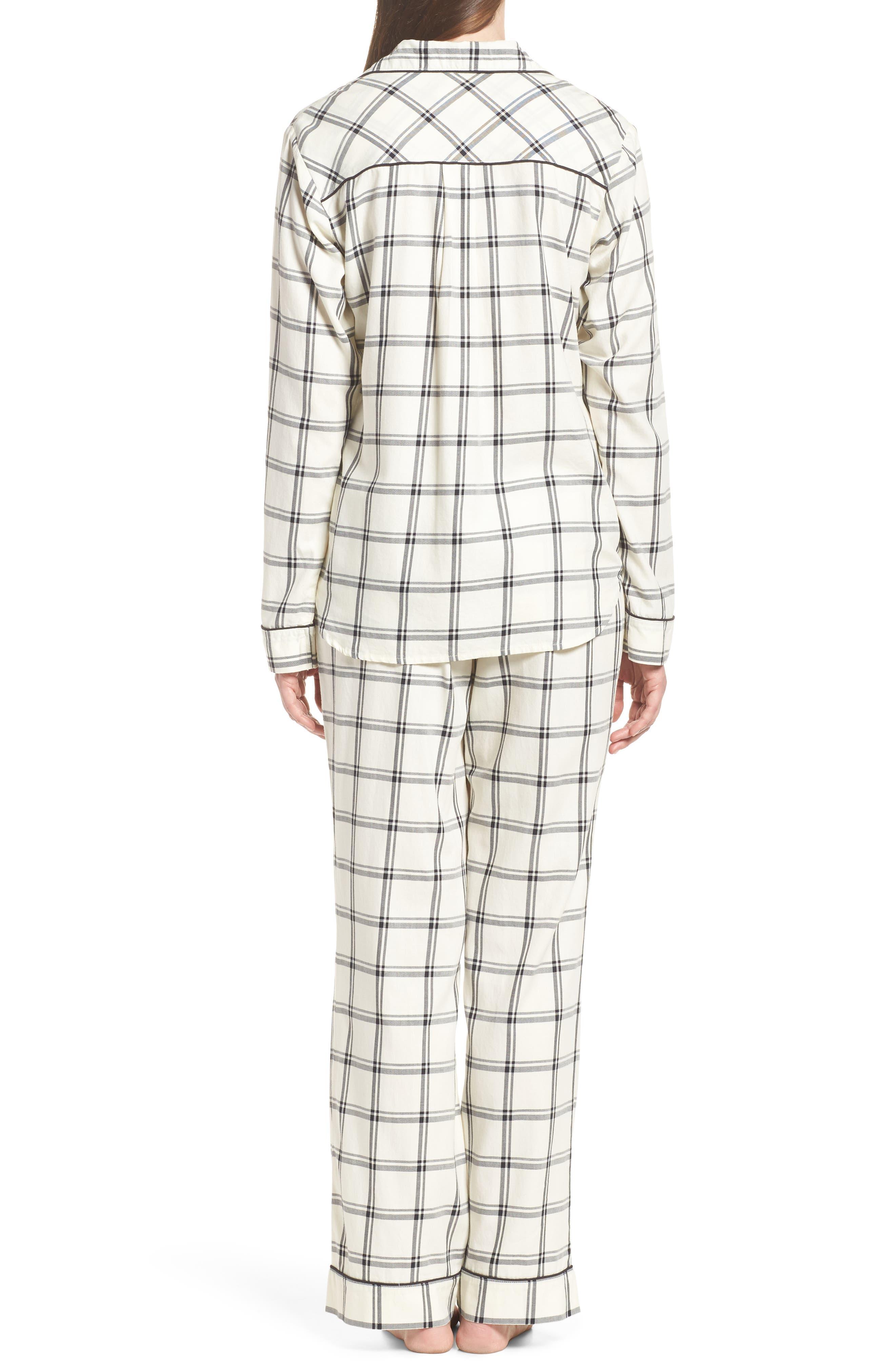 Raven Plaid Pajamas,                             Alternate thumbnail 2, color,                             Cream/ Black