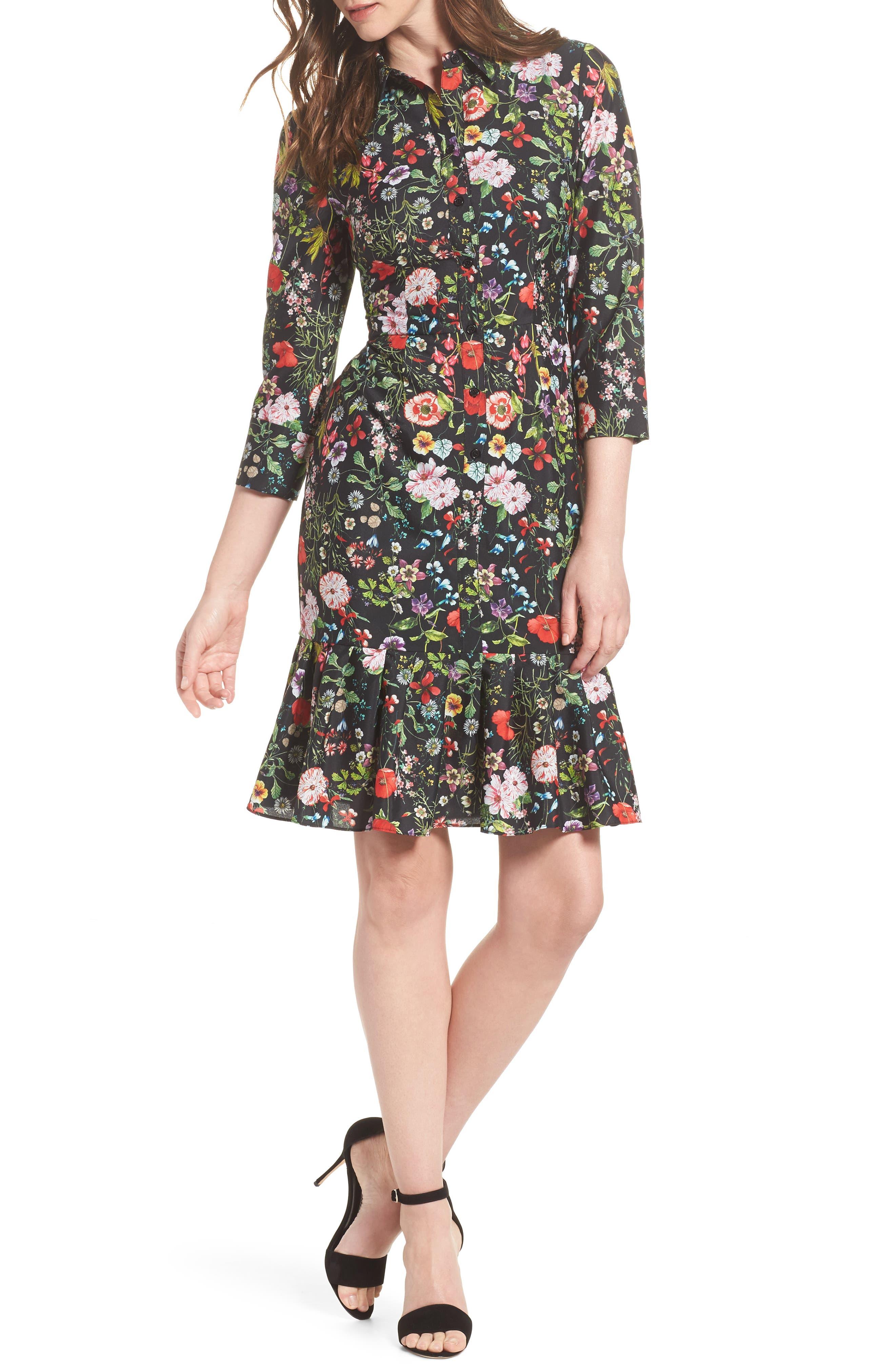 Bloom Print Shirtdress,                         Main,                         color, Black Multi