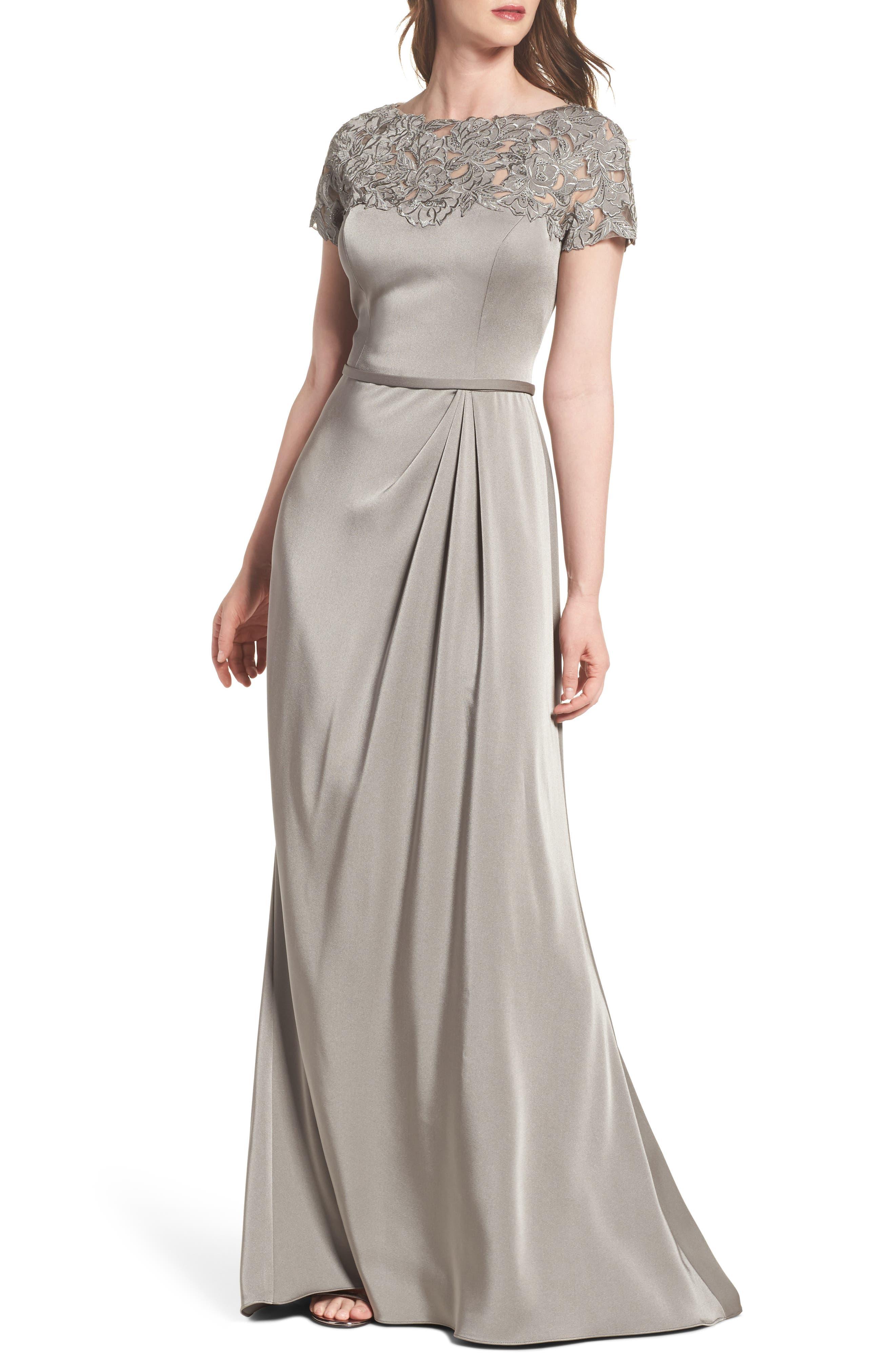 Main Image - La Femme Lace Yoke A-Line Gown