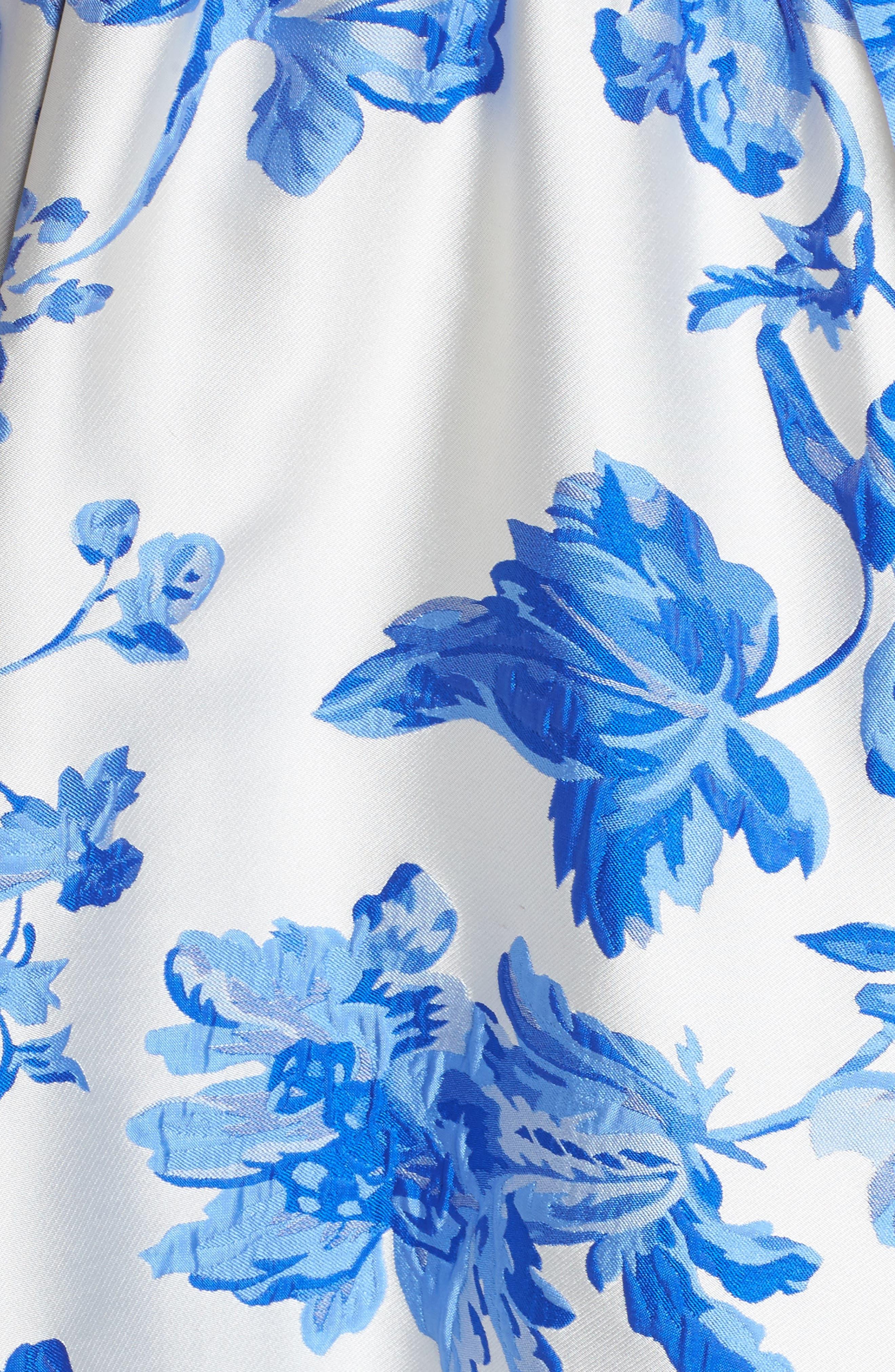 Mestiza Georgiana Floral High/Low Strapless Gown,                             Alternate thumbnail 5, color,                             Porcelain Blue