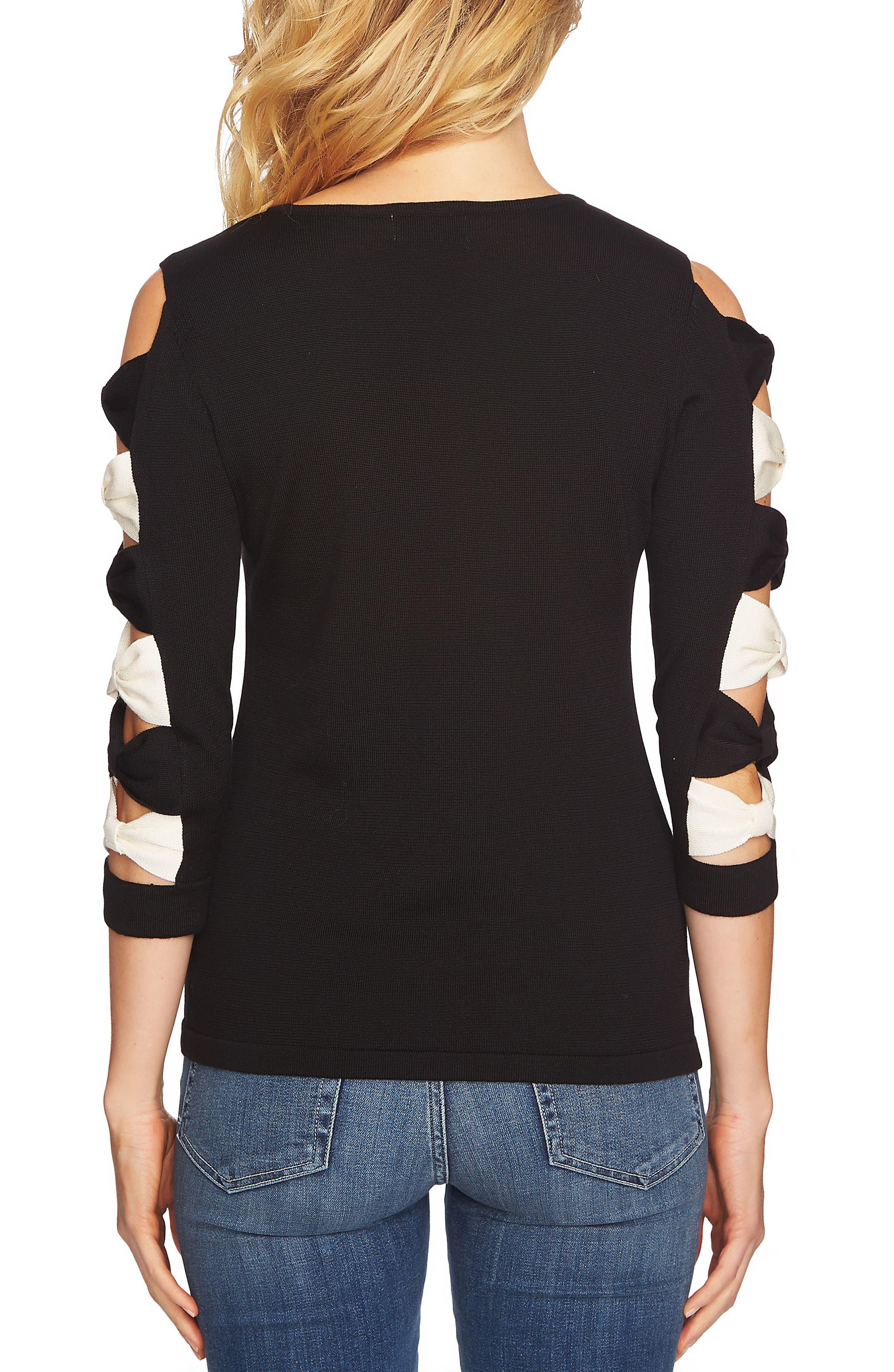 Bow Sleeve Crewneck Sweater,                             Alternate thumbnail 2, color,                             060-Rich Black