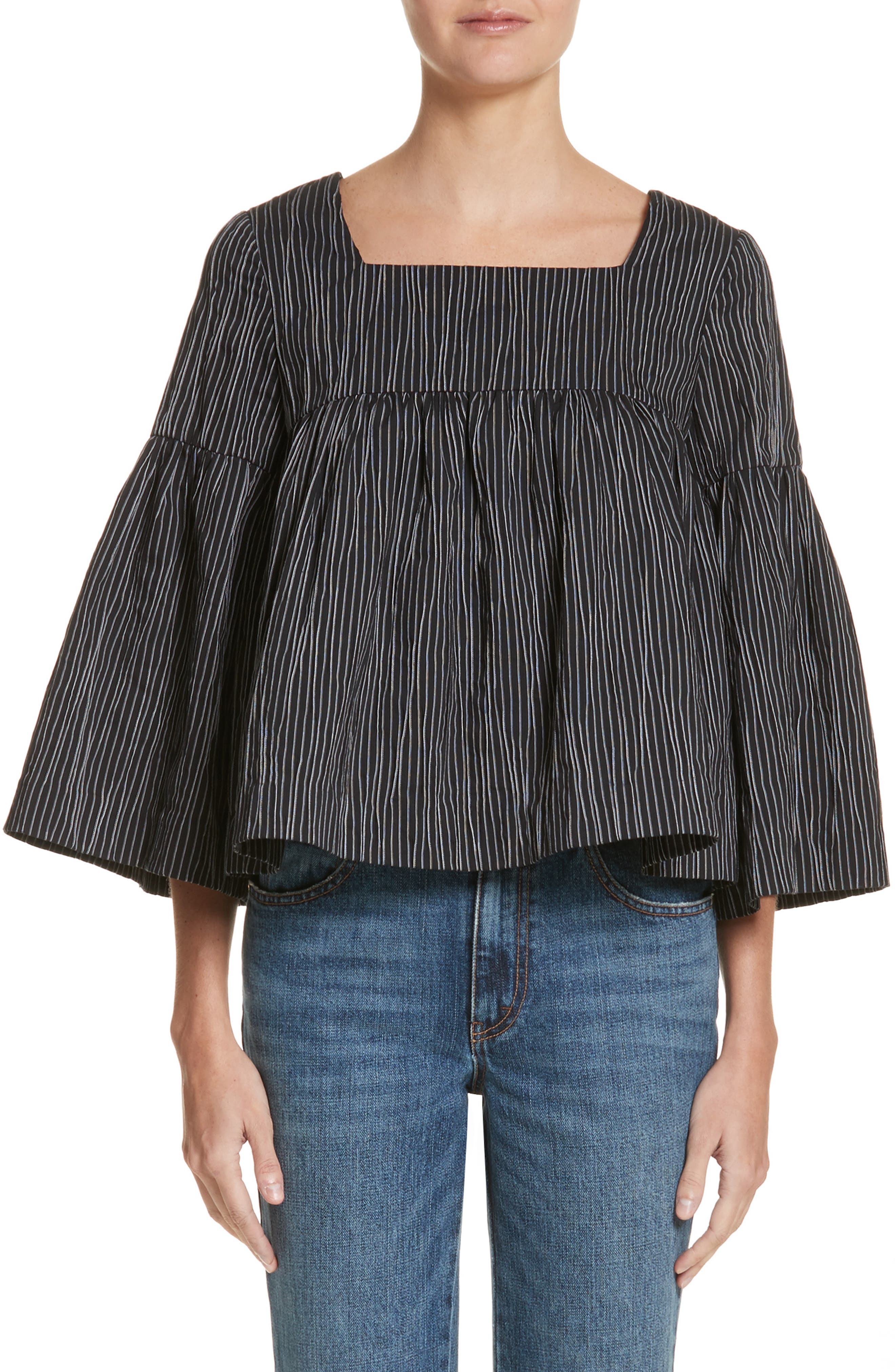Stripe Crinkle Cotton Blend Swing Top,                         Main,                         color, Black/ White Stripe