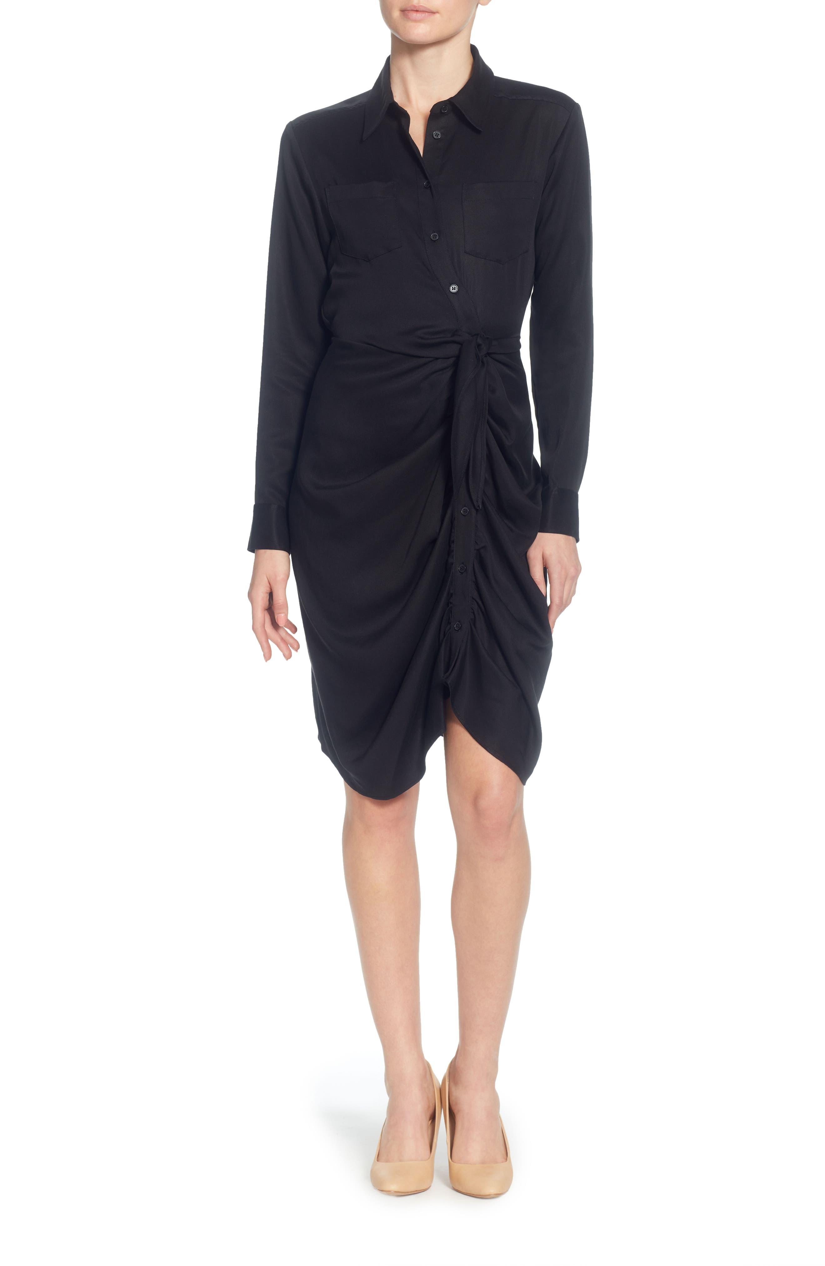 Sloan Tie-Waist Dress,                         Main,                         color, Black