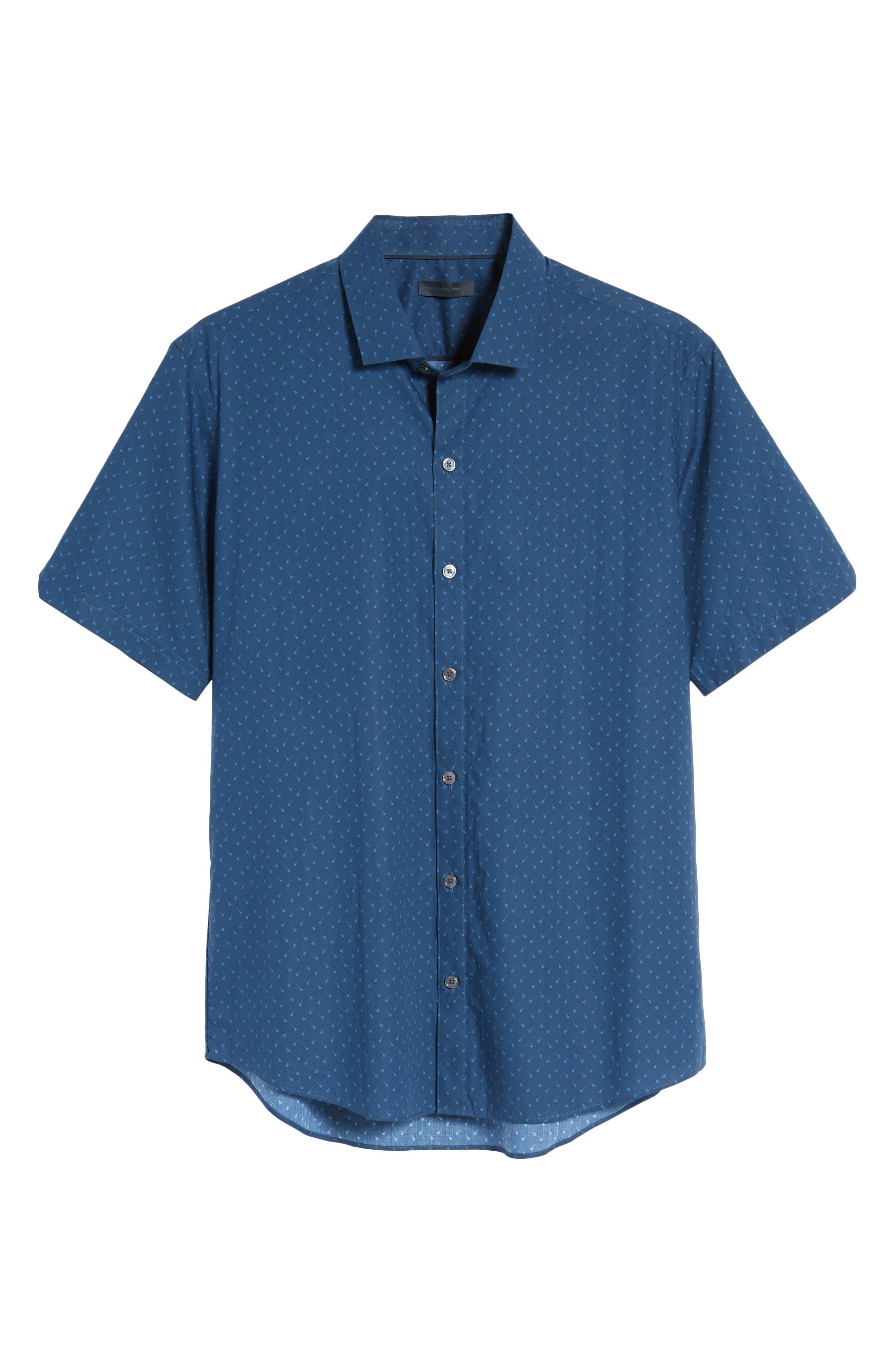 Shelton Slim Fit Guitar Print Sport Shirt,                             Alternate thumbnail 6, color,                             Dark Blue