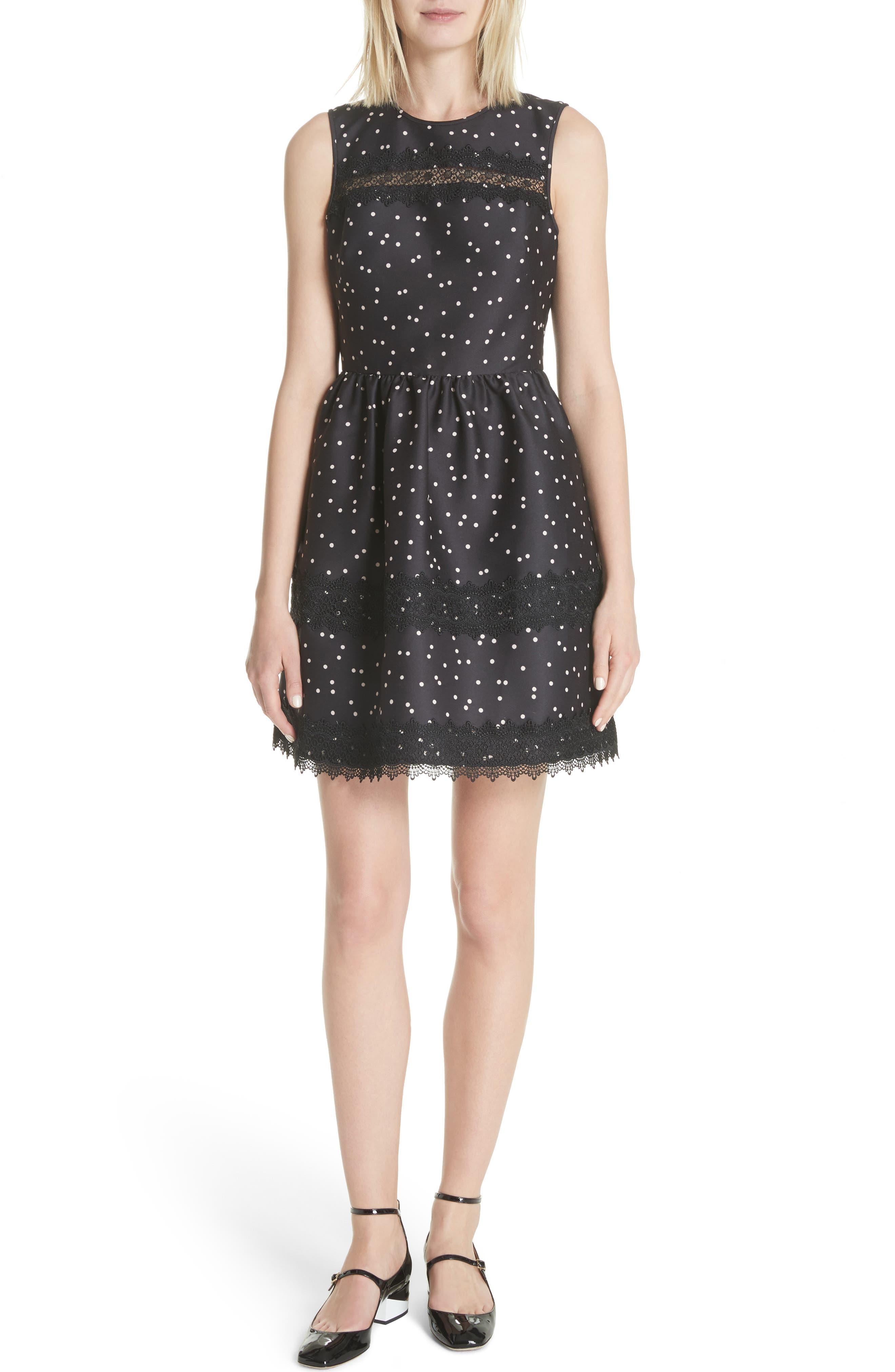scatter dot mikado fit & flare dress,                         Main,                         color, Black Multi