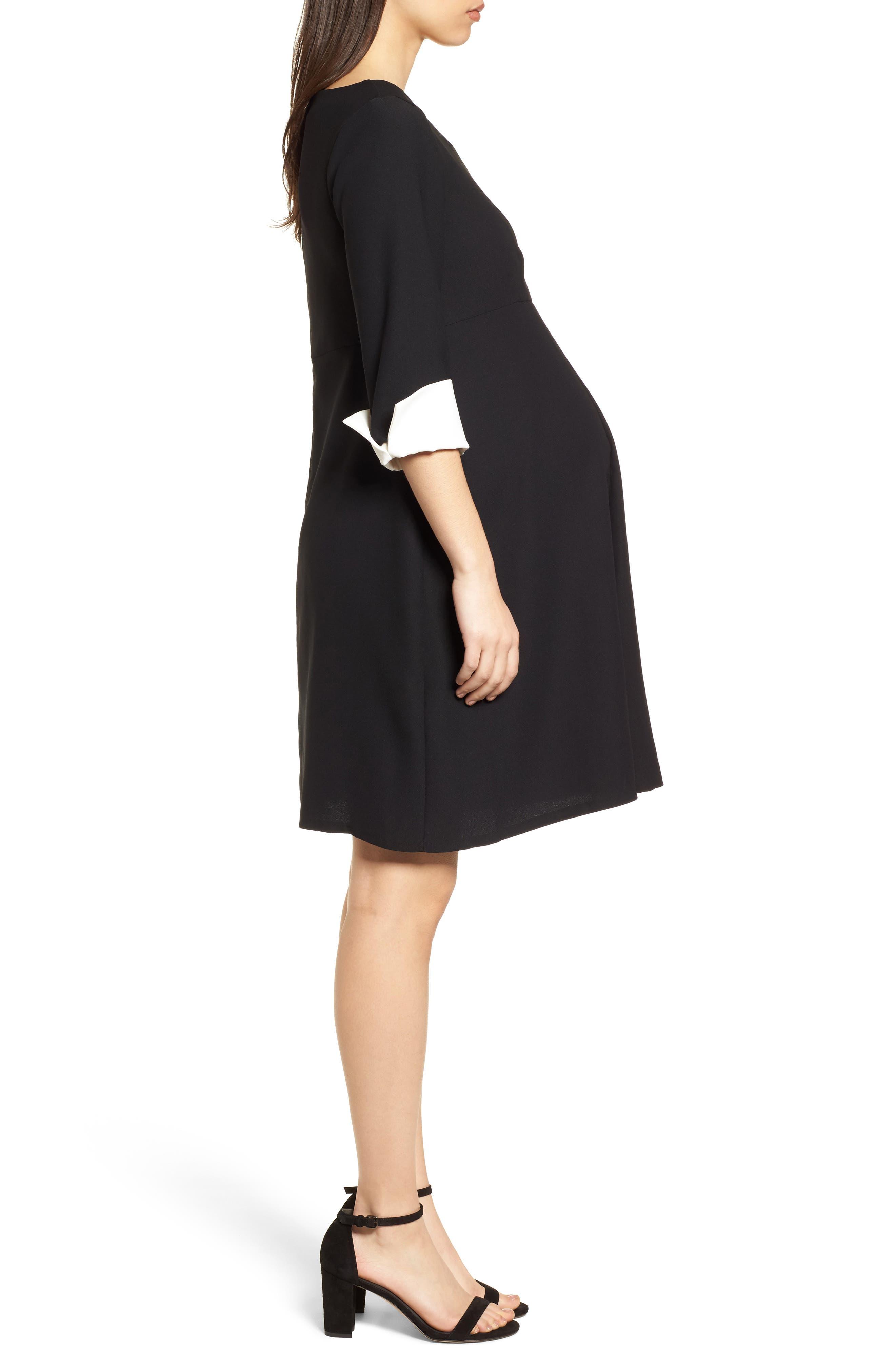 Rosa Maternity Dress,                             Alternate thumbnail 3, color,                             Caviar Black