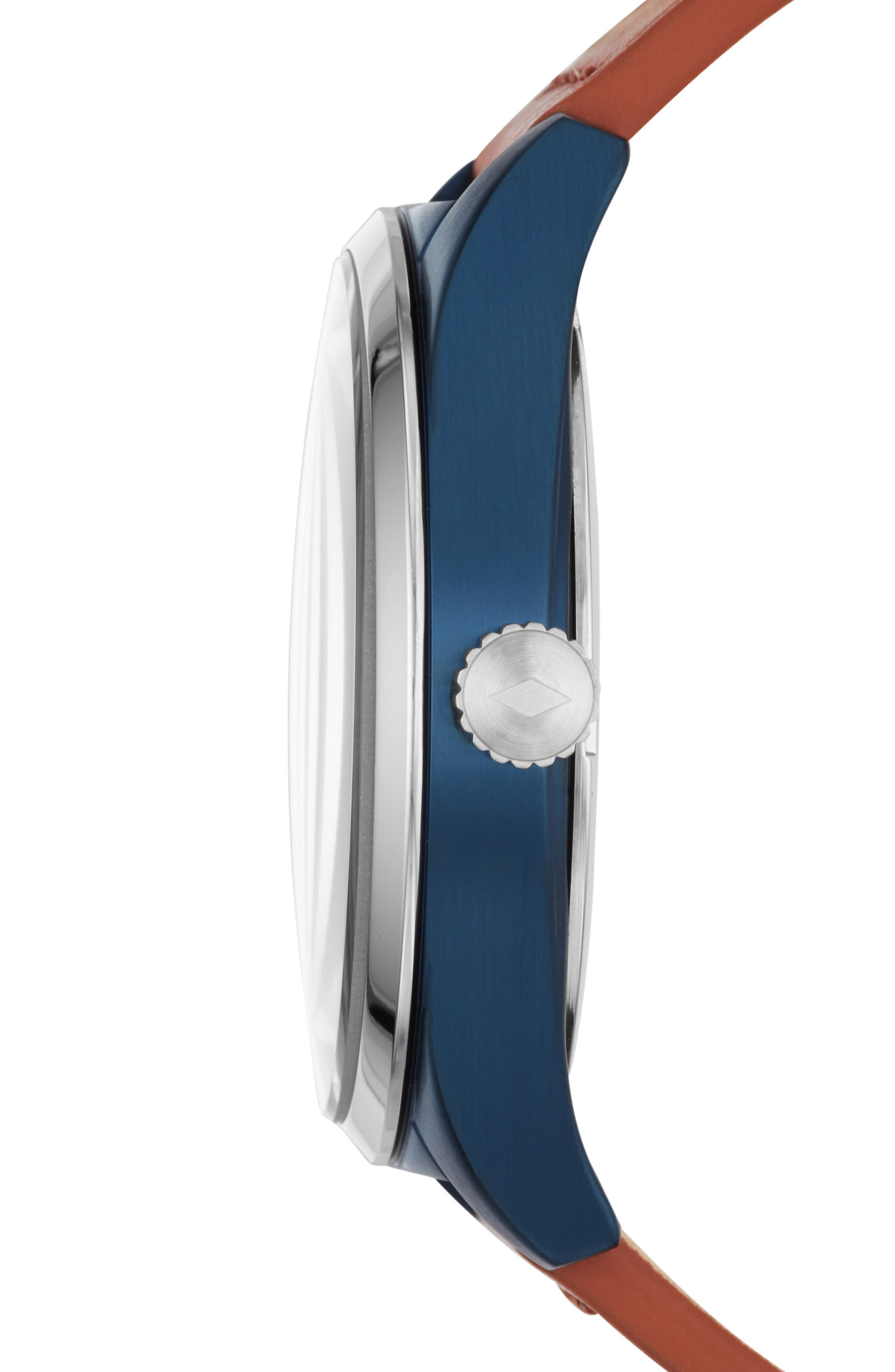 Mathis Leather Strap Watch, 44mm,                             Alternate thumbnail 2, color,                             Brown/ Blue