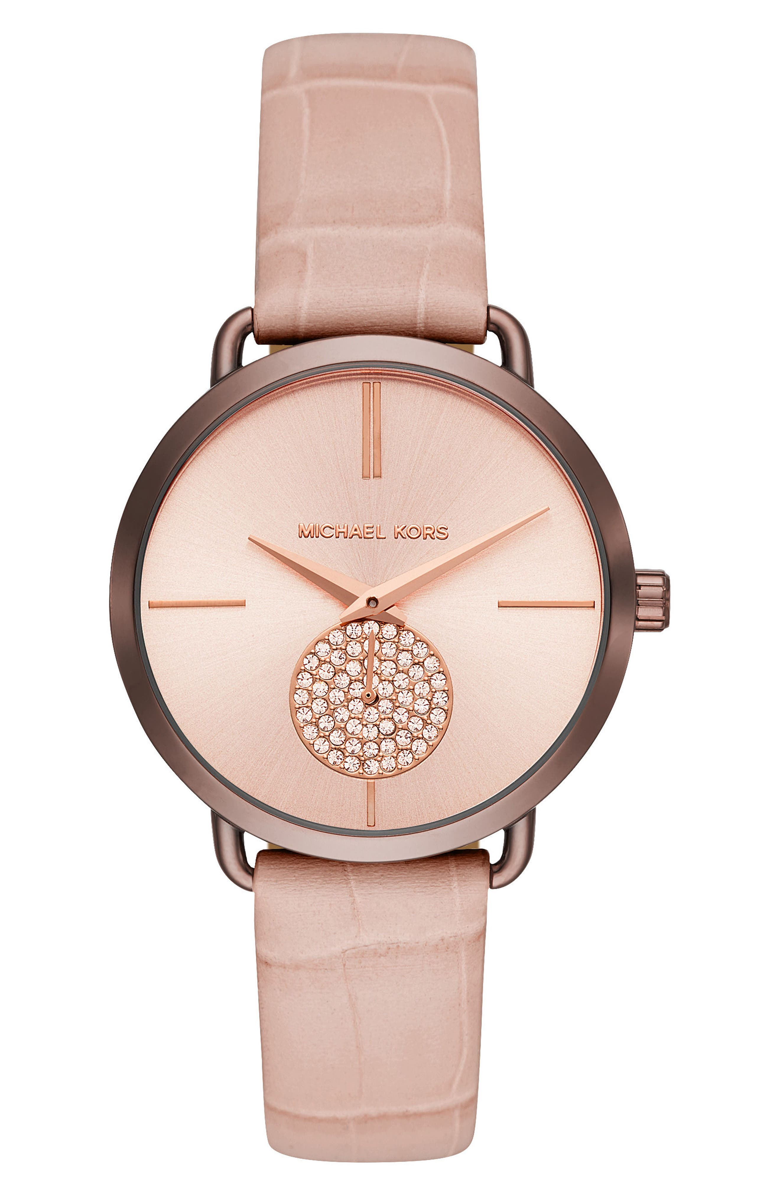 Portia Crystal Leather Strap Watch, 37mm,                             Main thumbnail 1, color,                             Pink/ Rose Gold/ Brown