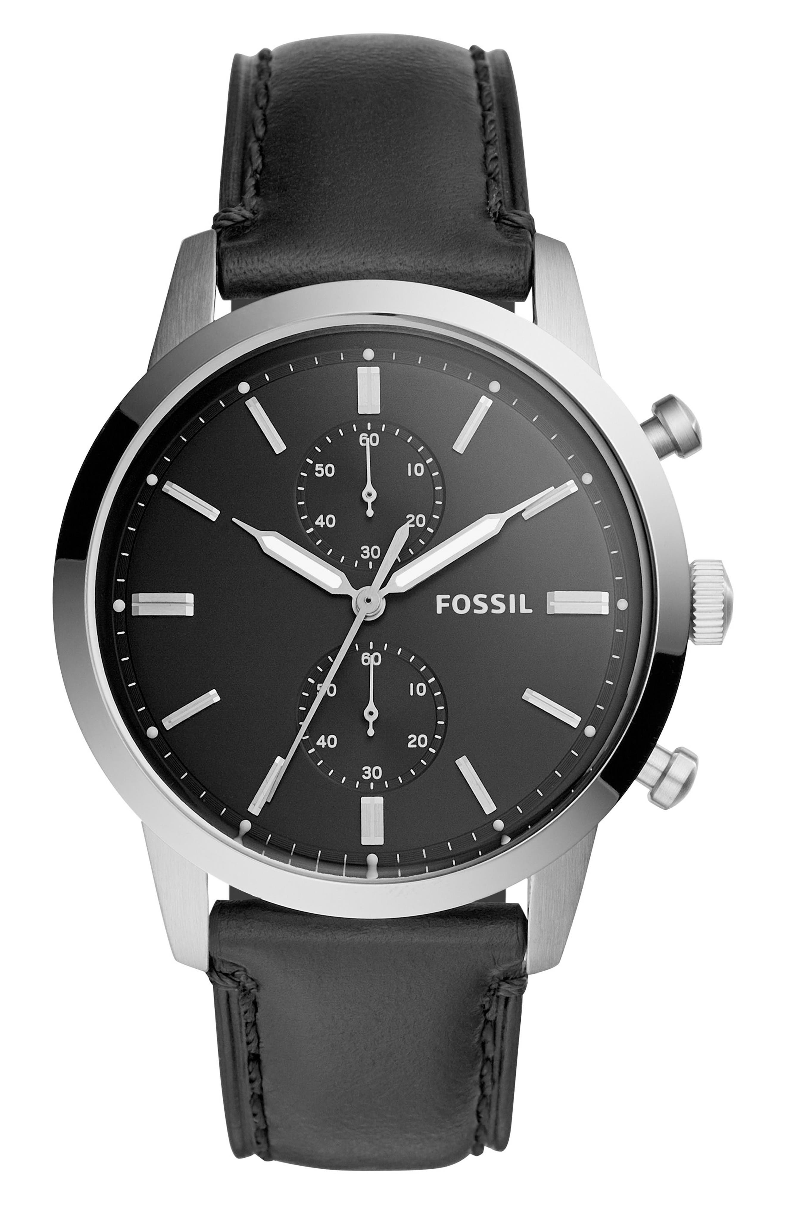 Townsman Chronograph Leather Strap Watch, 44mm,                         Main,                         color, Black/ Silver