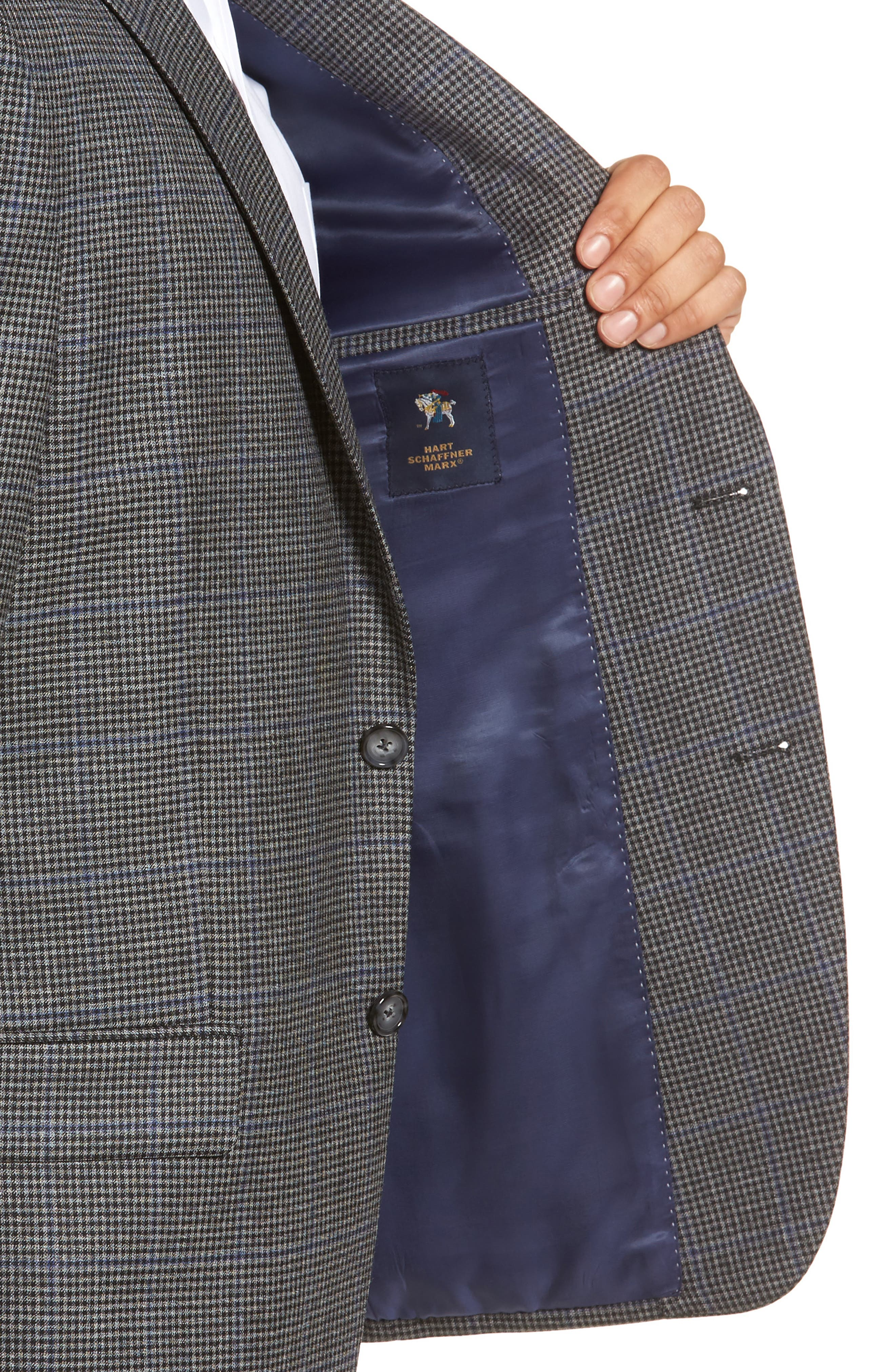 Classic Fit Stretch Check Wool Sport Coat,                             Alternate thumbnail 4, color,                             Grey