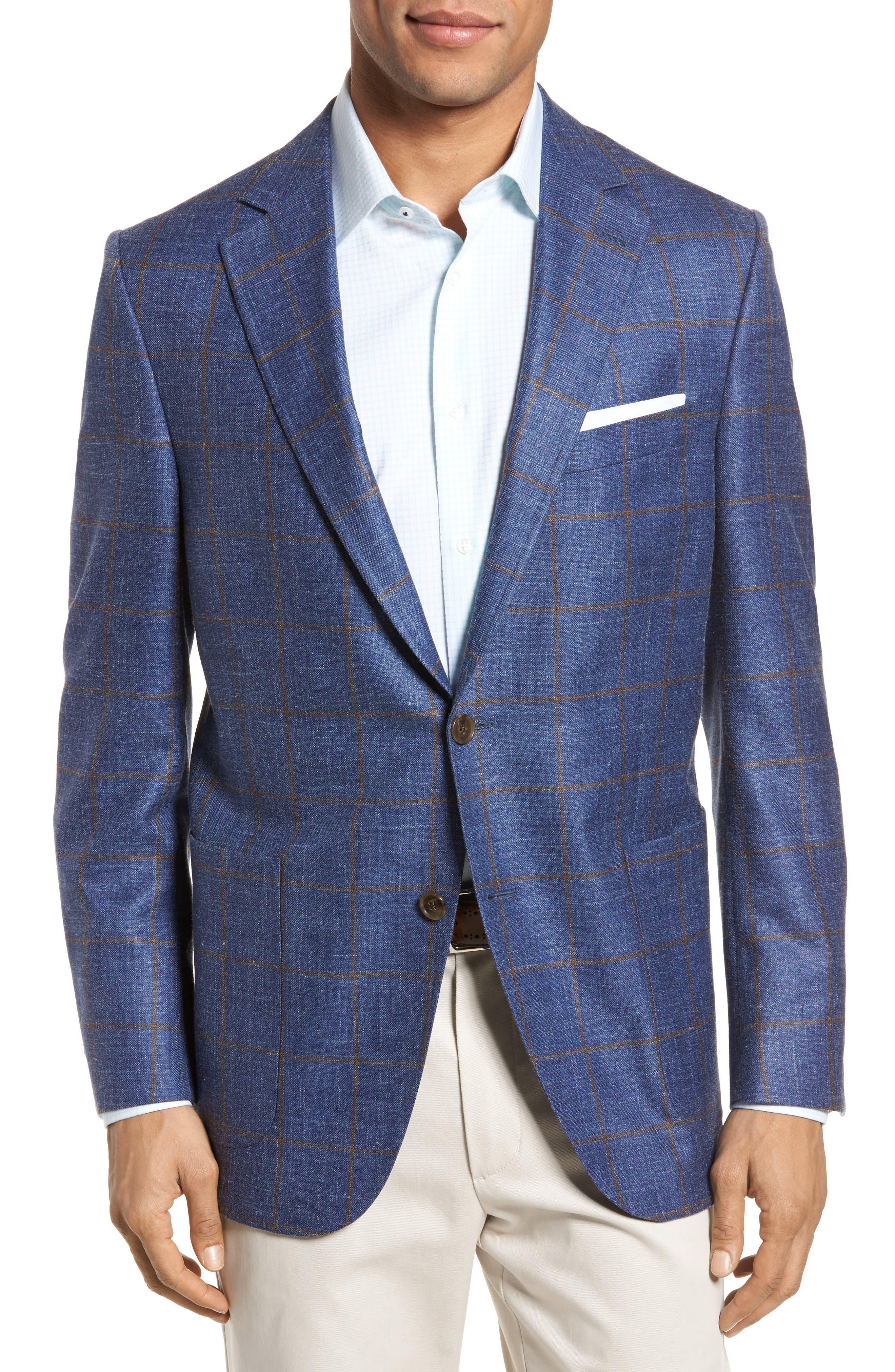 Classic Fit Windowpane Wool Blend Sport Coat,                             Main thumbnail 1, color,                             Navy