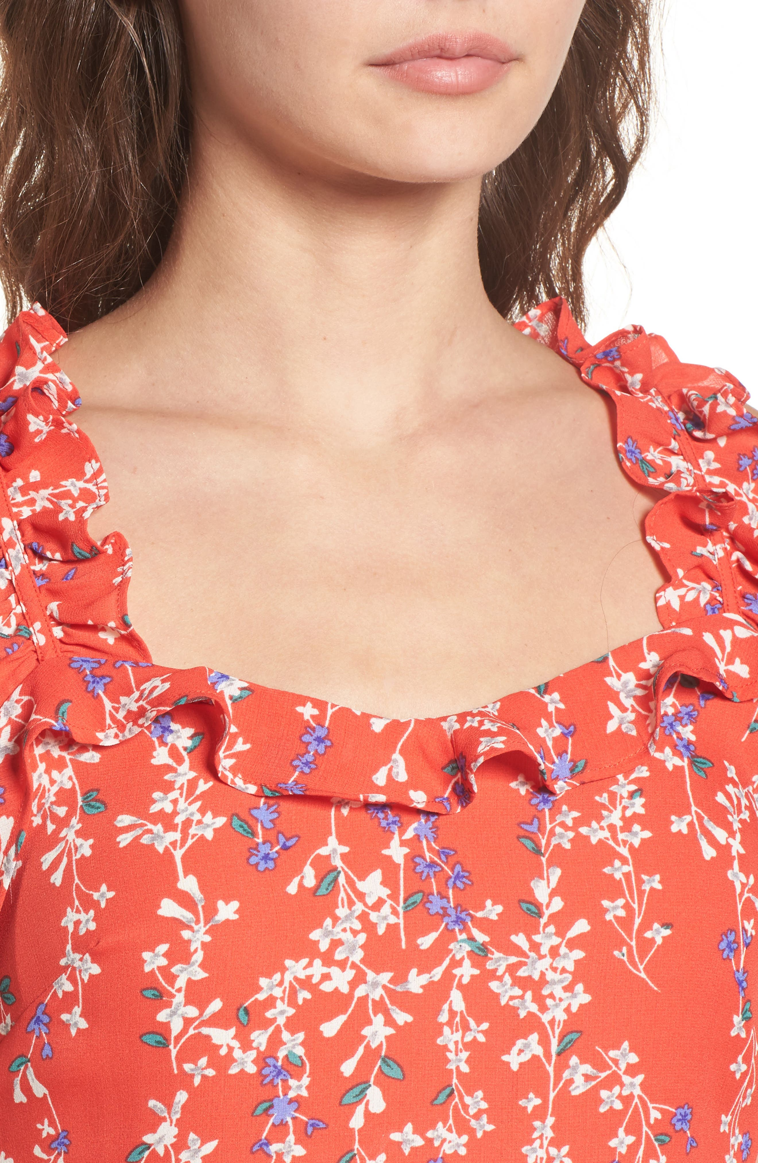 Floral Ruffle Crop Top,                             Alternate thumbnail 6, color,                             Red Floral