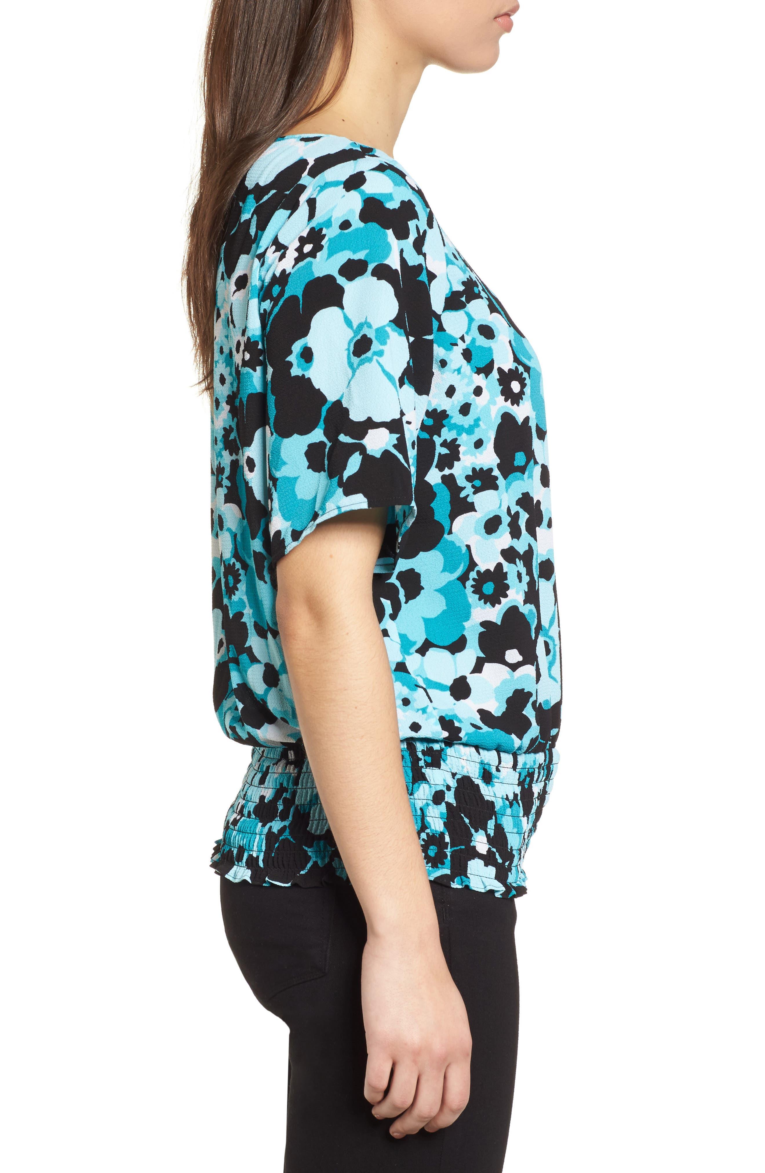 Springtime Floral Kimono Top,                             Alternate thumbnail 3, color,                             Tile Blue/ Black Multi