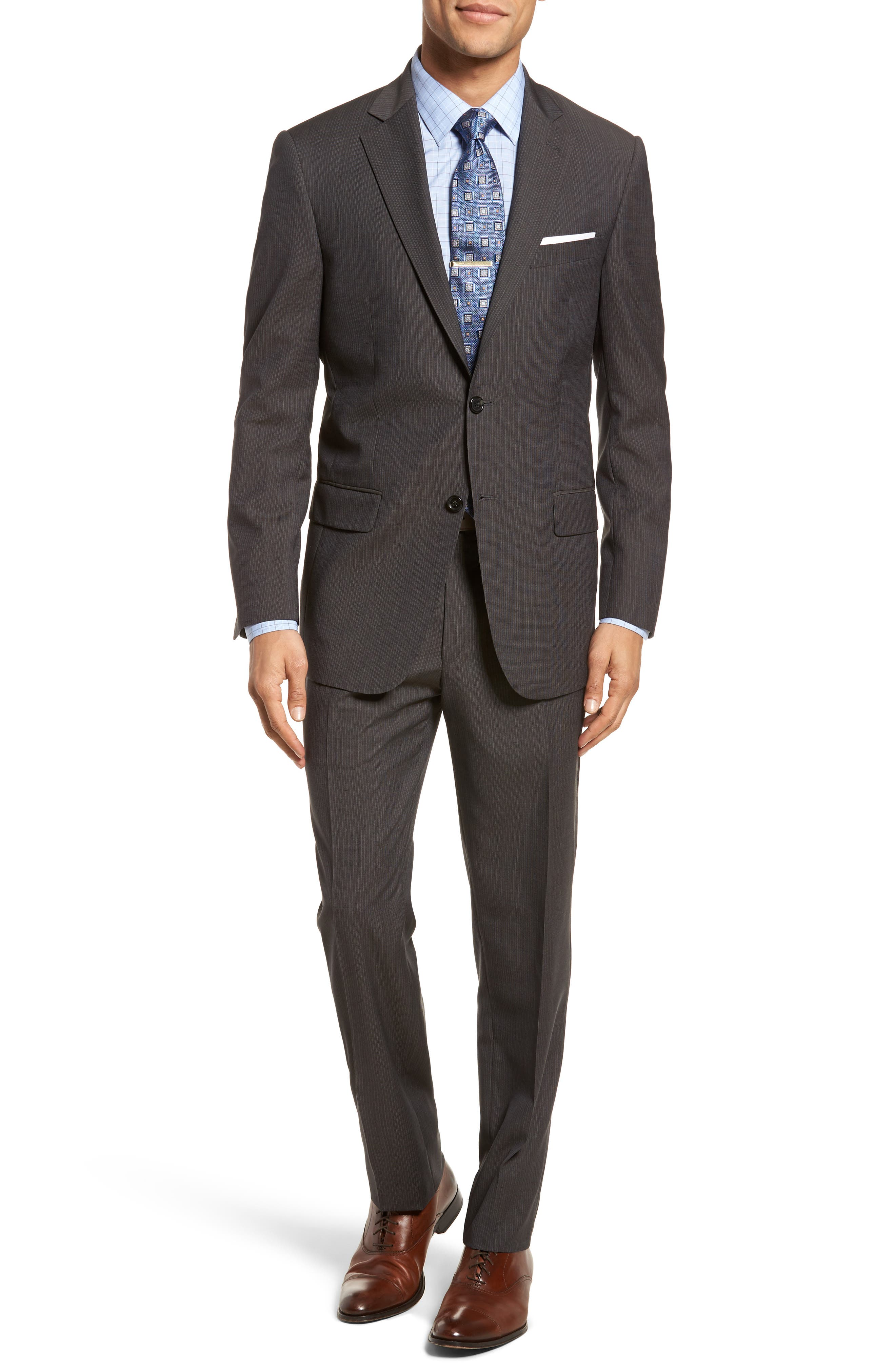 New York Classic Fit Stripe Wool Suit,                         Main,                         color, Charcoal