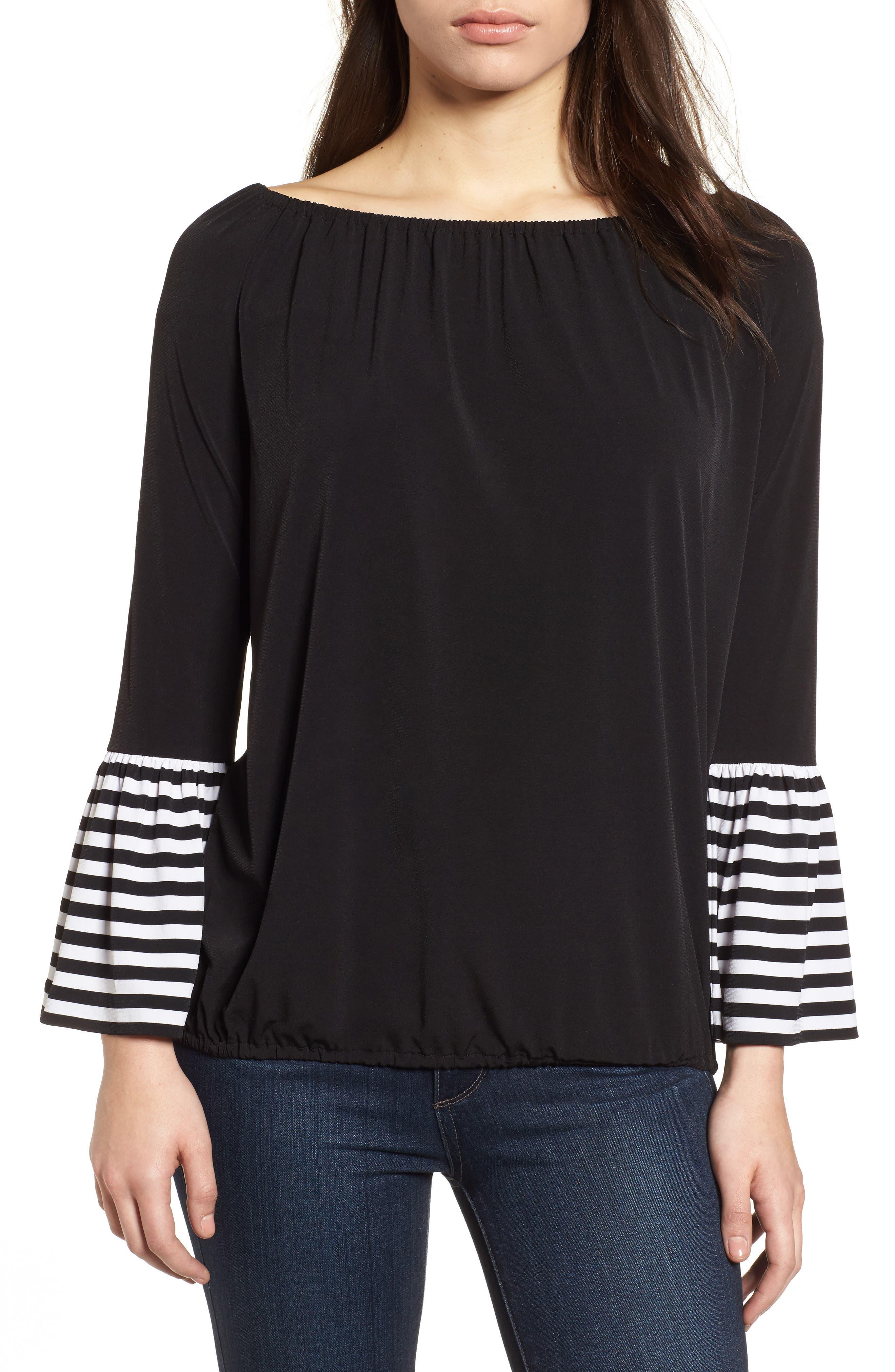Stripe Cuff Top,                         Main,                         color, Black