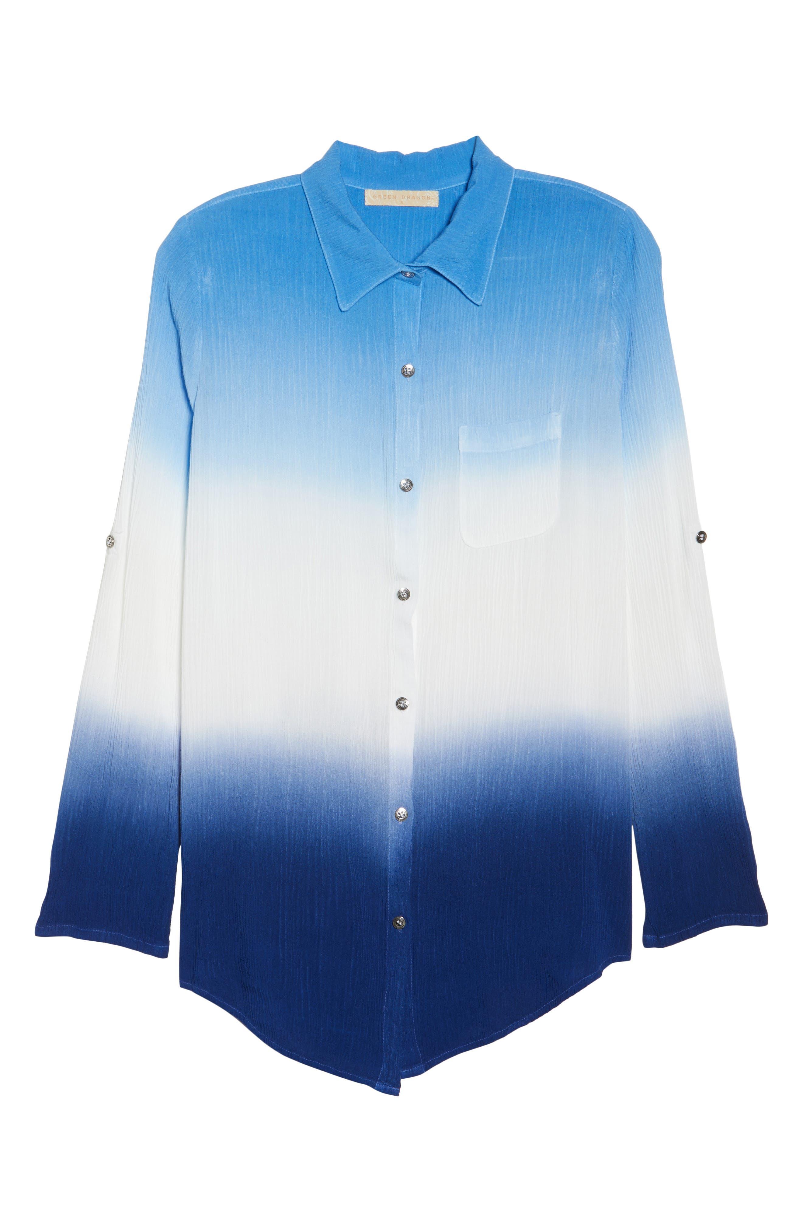 Big Sur Dip Dyed Cover-Up Boyfriend Shirt,                             Alternate thumbnail 5, color,                             Indigo