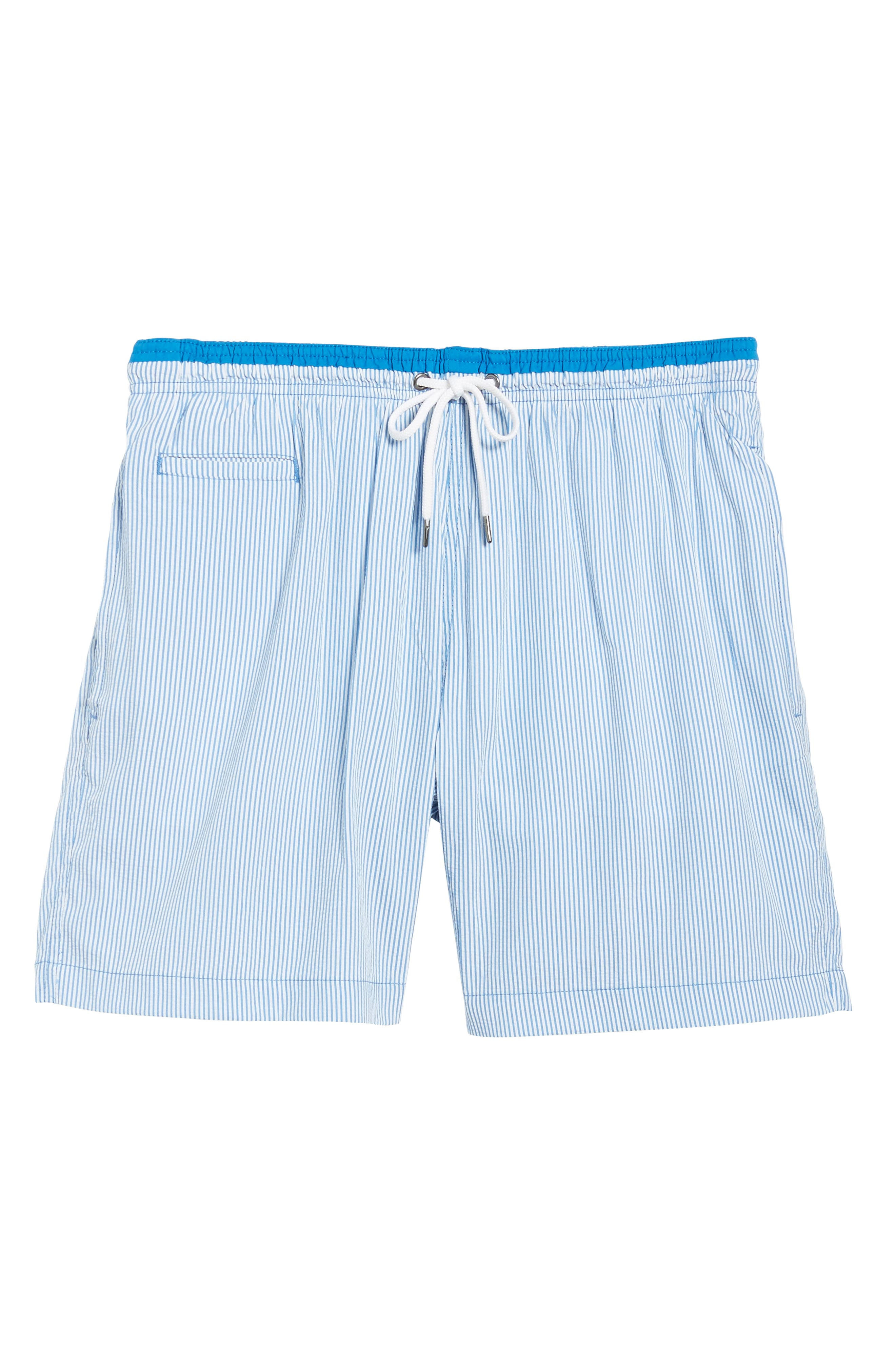 San O Stripe Swim Trunks,                             Alternate thumbnail 6, color,                             Nautical Blue/ White
