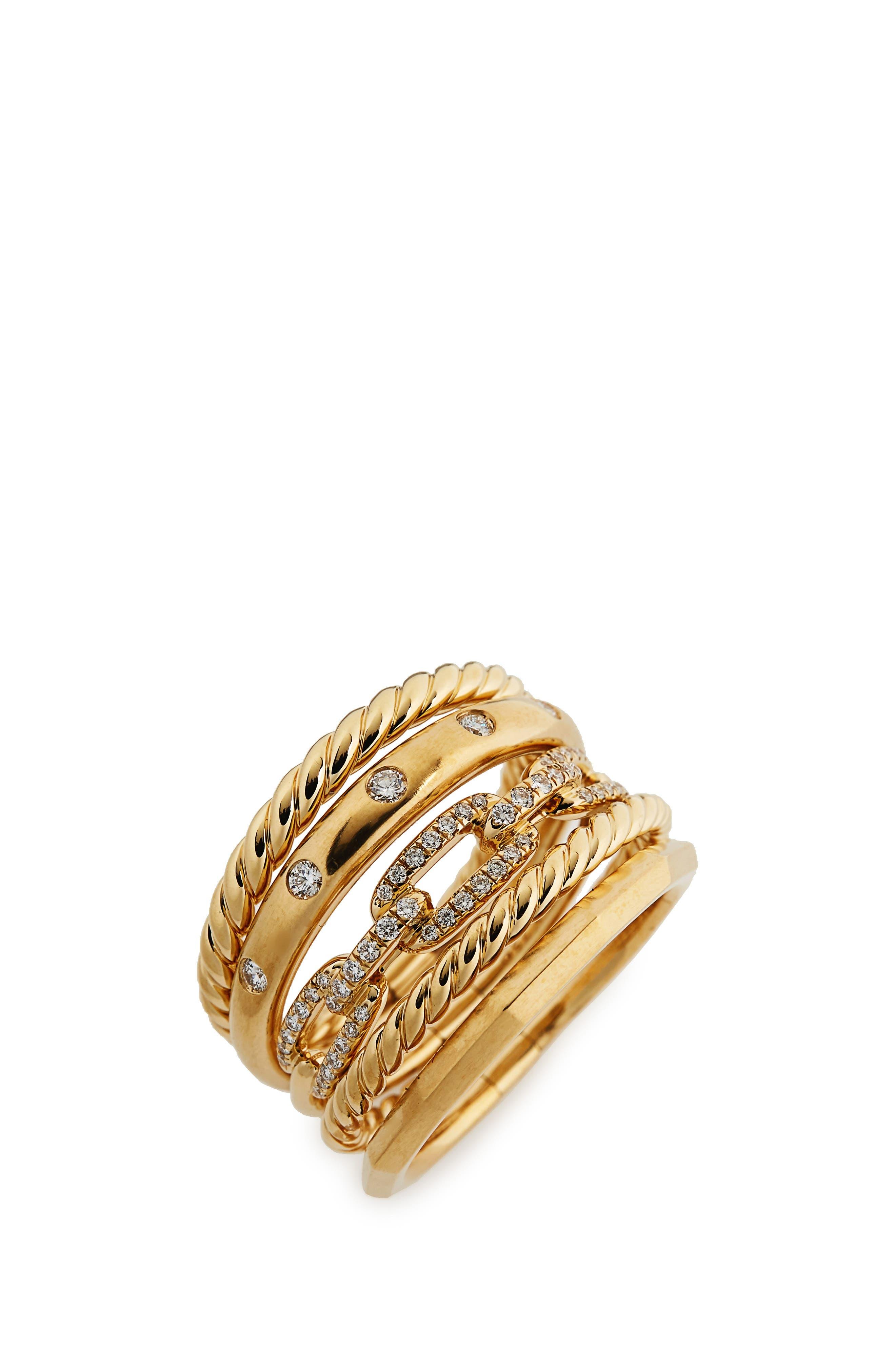 David Yurman Stax Wide Ring with Diamonds in 18K Gold, 15mm