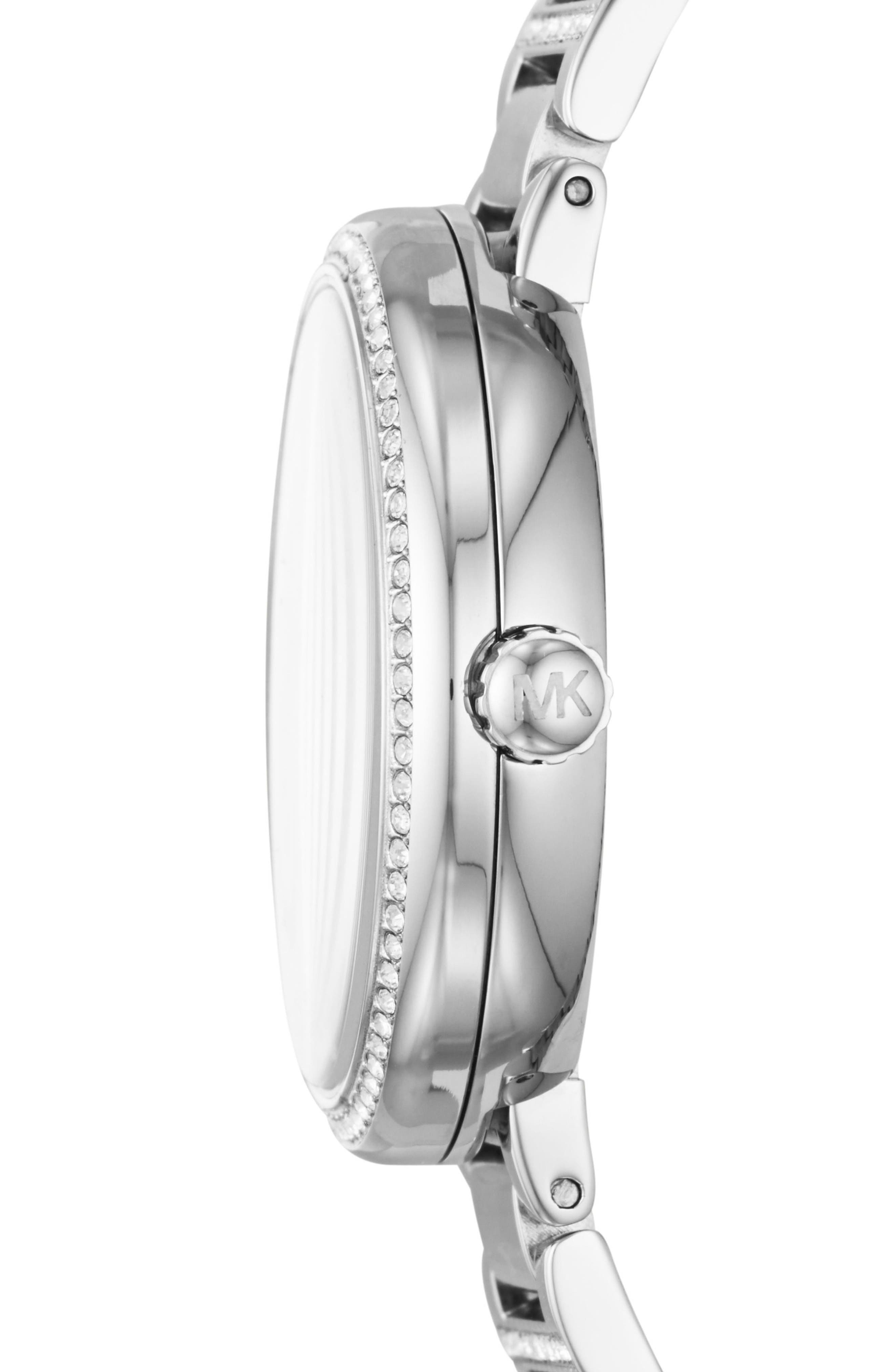 Courtney Crystal Bracelet Watch, 36mm,                             Alternate thumbnail 2, color,                             Silver