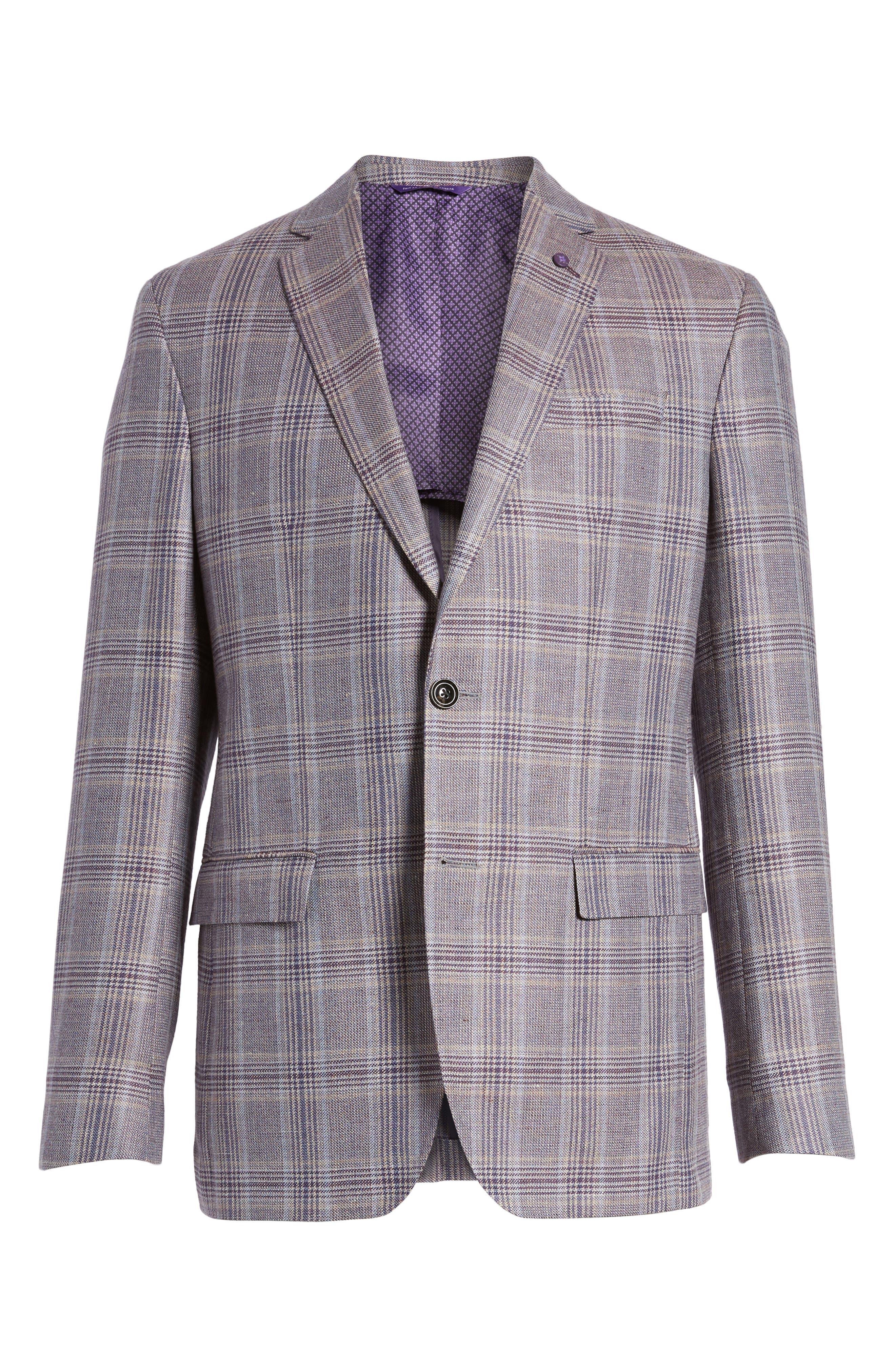 Konan Trim Fit Plaid Linen & Wool Sport Coat,                             Alternate thumbnail 7, color,                             Tan